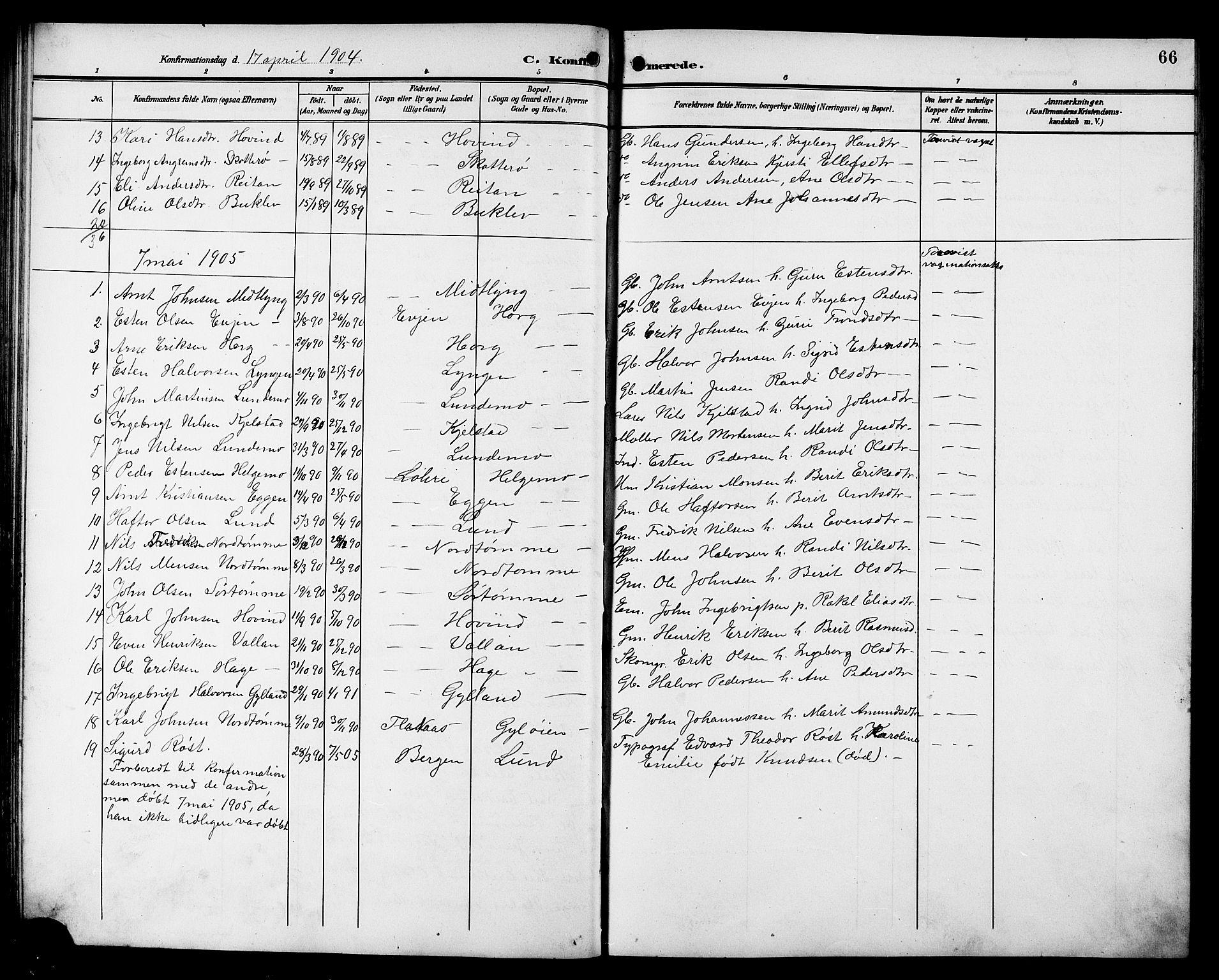 SAT, Ministerialprotokoller, klokkerbøker og fødselsregistre - Sør-Trøndelag, 692/L1112: Klokkerbok nr. 692C07, 1904-1918, s. 66