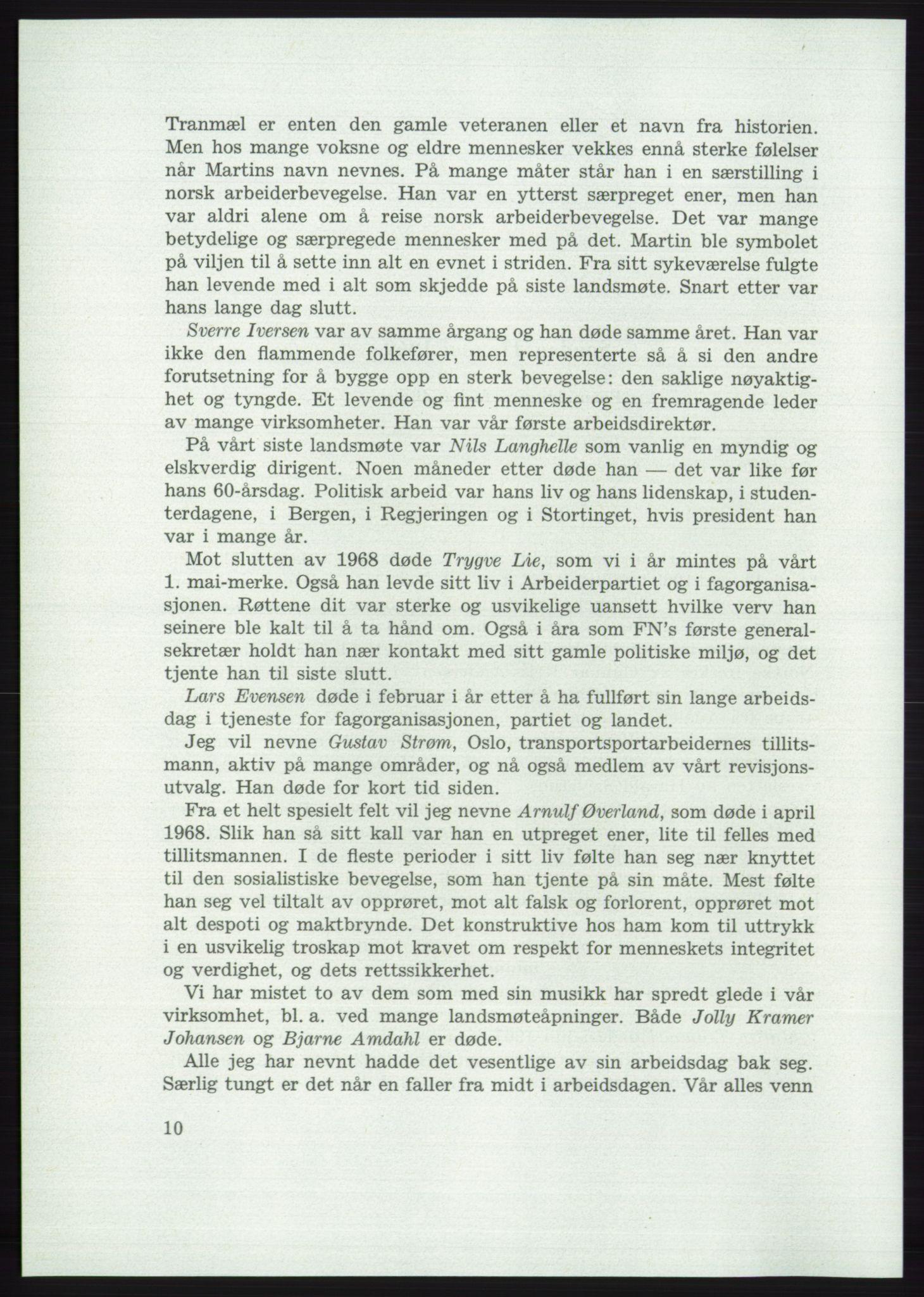 AAB, Det norske Arbeiderparti - publikasjoner, -/-: Protokoll over forhandlingene på det 42. ordinære landsmøte 11.-14. mai 1969 i Oslo, 1969, s. 10