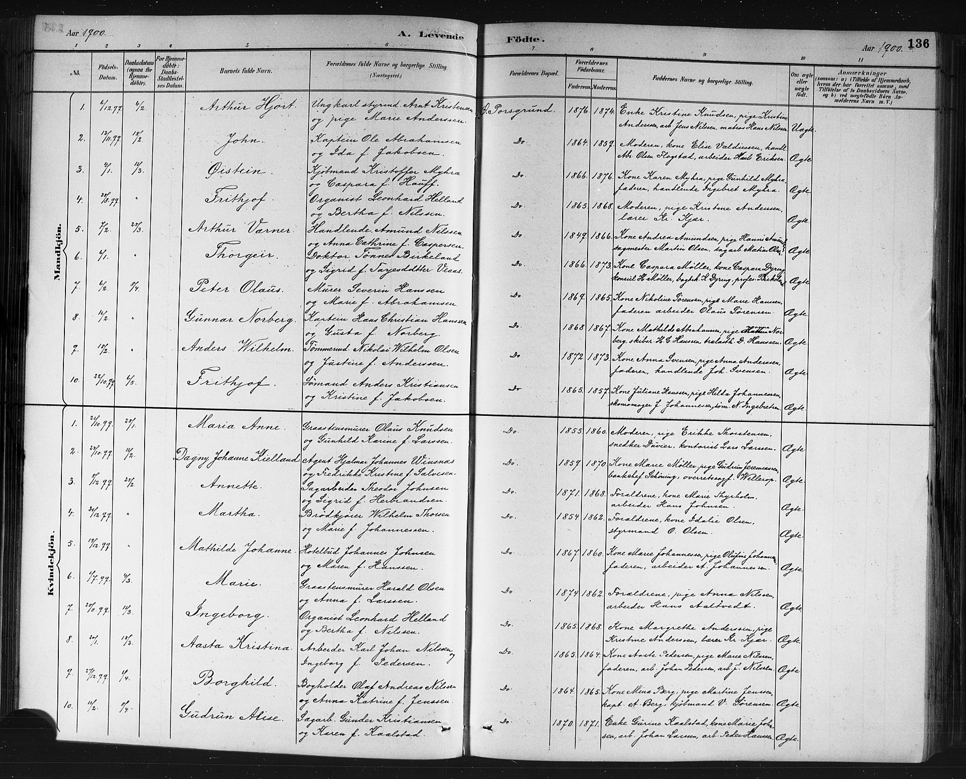 SAKO, Porsgrunn kirkebøker , G/Gb/L0005: Klokkerbok nr. II 5, 1883-1915, s. 136