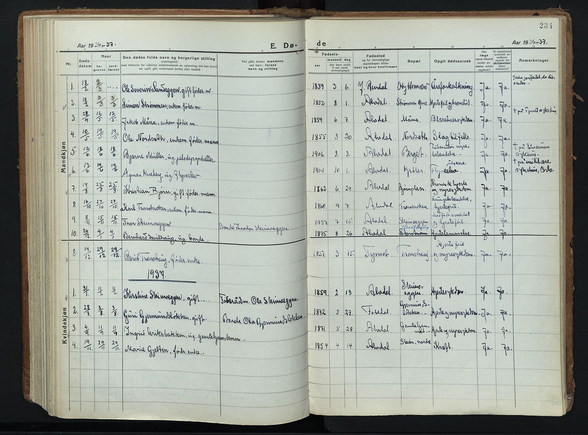 SAH, Alvdal prestekontor, Ministerialbok nr. 6, 1920-1937, s. 234