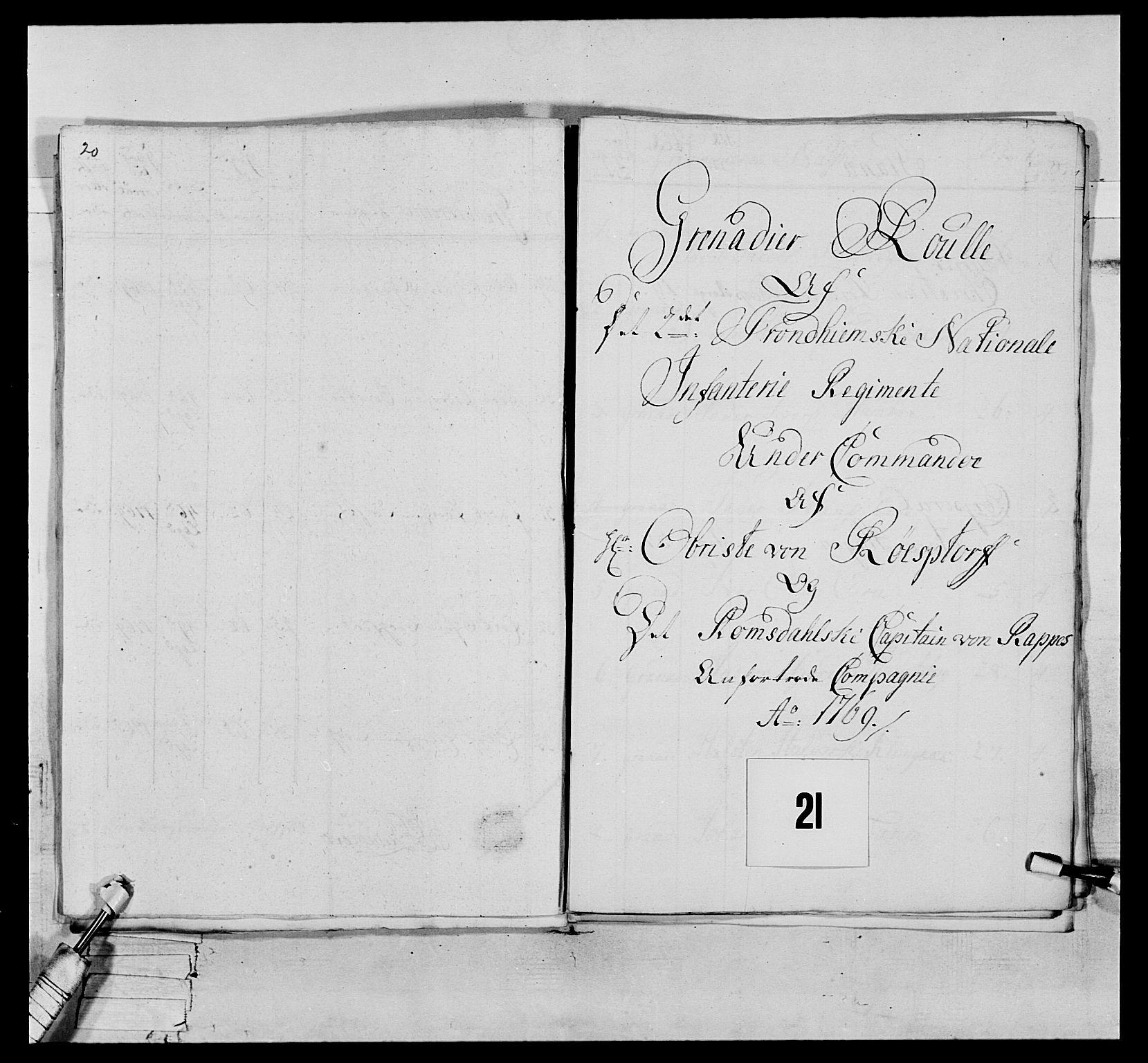 RA, Generalitets- og kommissariatskollegiet, Det kongelige norske kommissariatskollegium, E/Eh/L0076: 2. Trondheimske nasjonale infanteriregiment, 1766-1773, s. 47