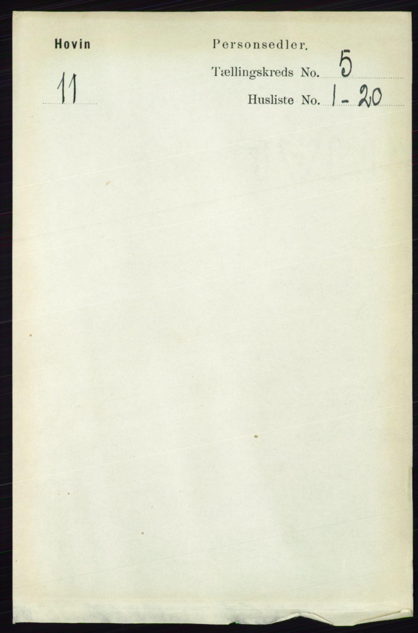 RA, Folketelling 1891 for 0825 Hovin herred, 1891, s. 981