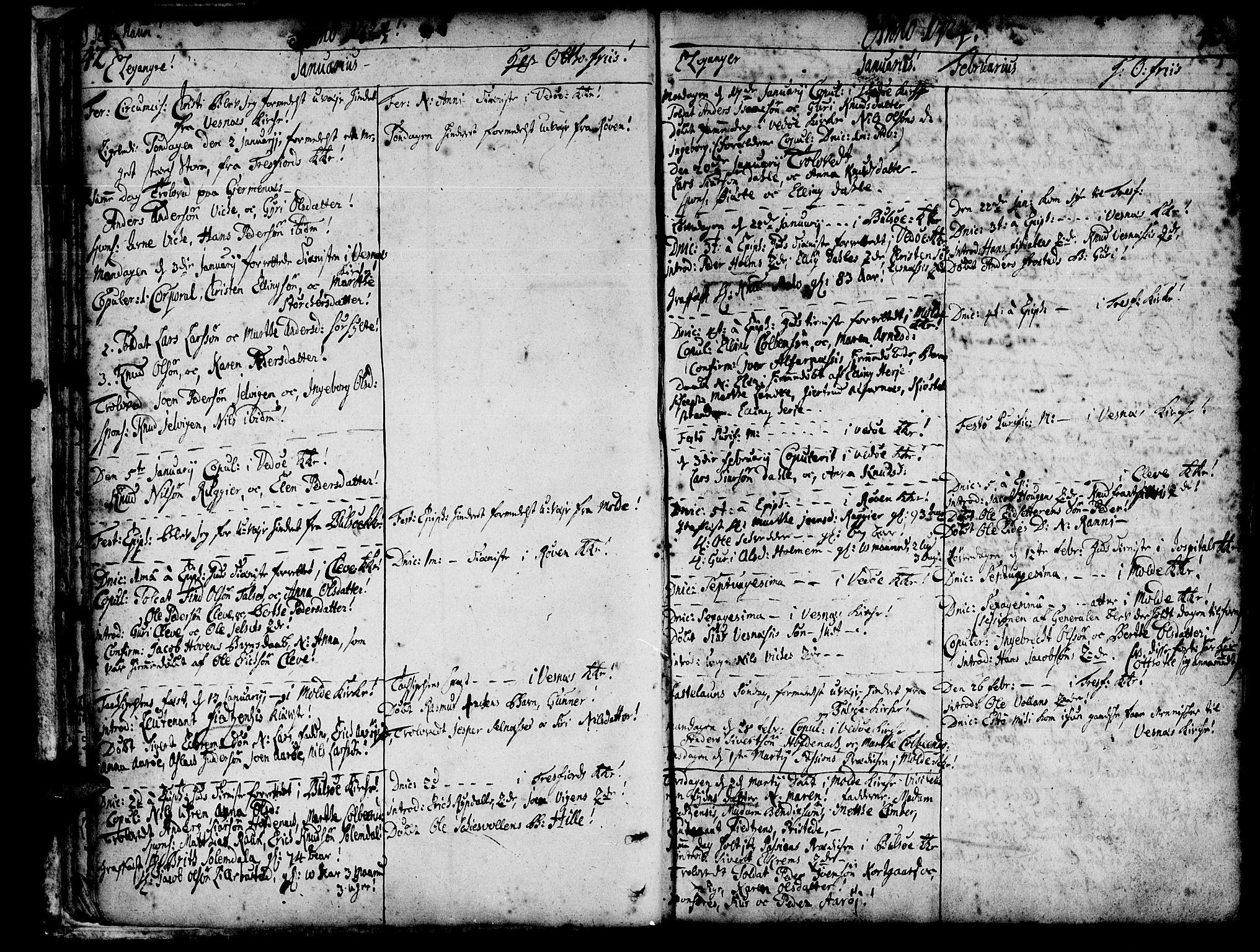 SAT, Ministerialprotokoller, klokkerbøker og fødselsregistre - Møre og Romsdal, 547/L0599: Ministerialbok nr. 547A01, 1721-1764, s. 44-45