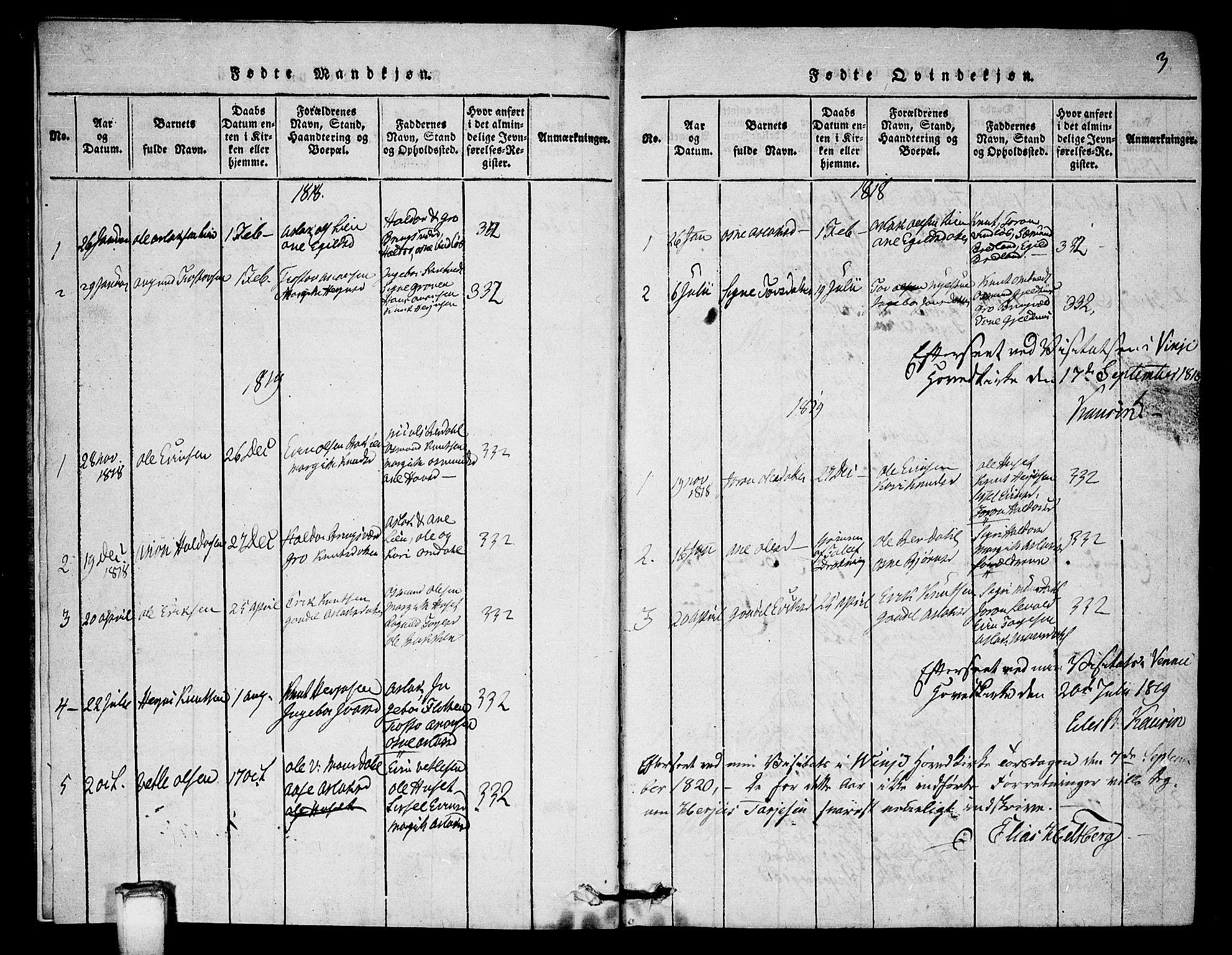SAKO, Vinje kirkebøker, G/Gb/L0001: Klokkerbok nr. II 1, 1814-1843, s. 3