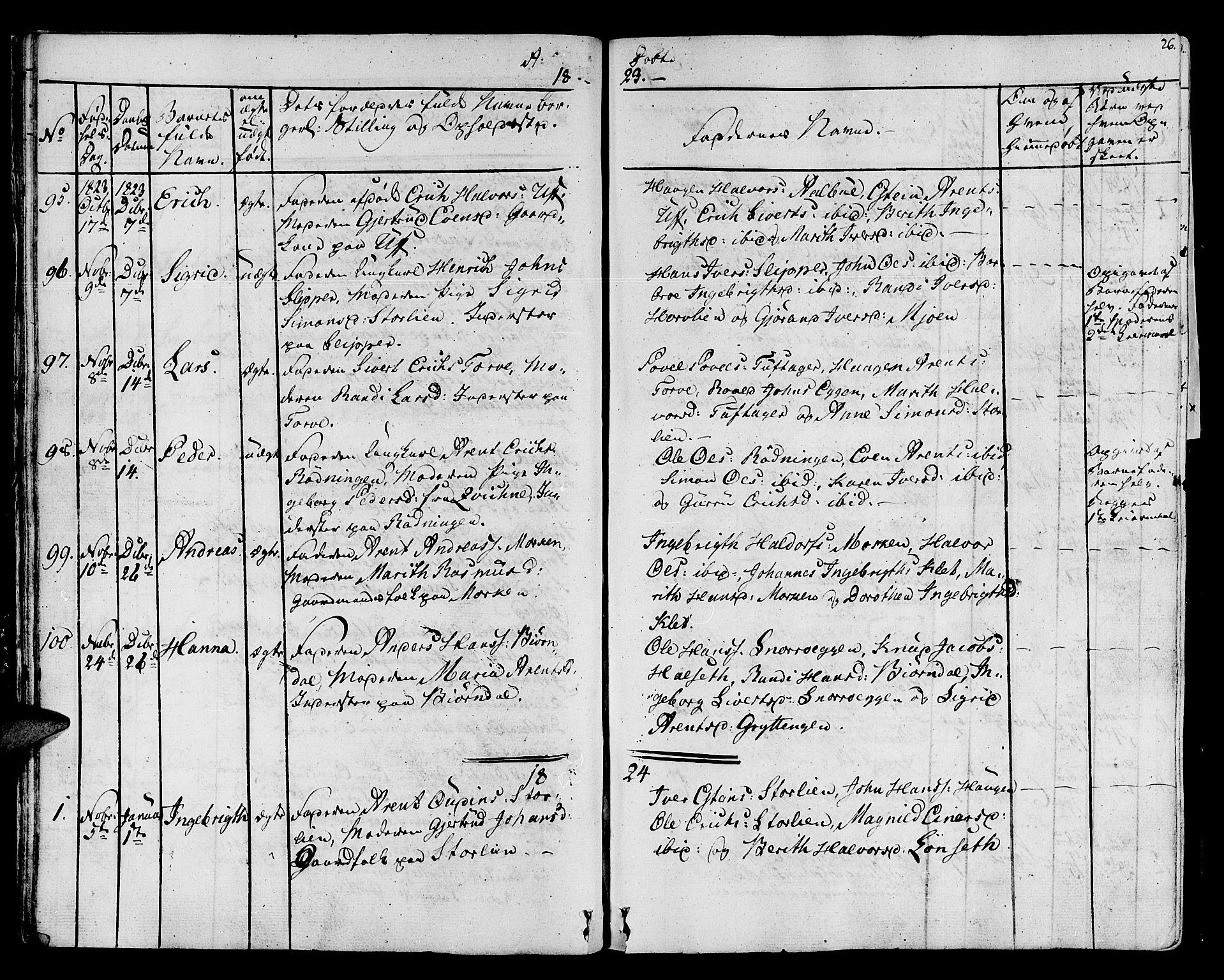 SAT, Ministerialprotokoller, klokkerbøker og fødselsregistre - Sør-Trøndelag, 678/L0897: Ministerialbok nr. 678A06-07, 1821-1847, s. 26