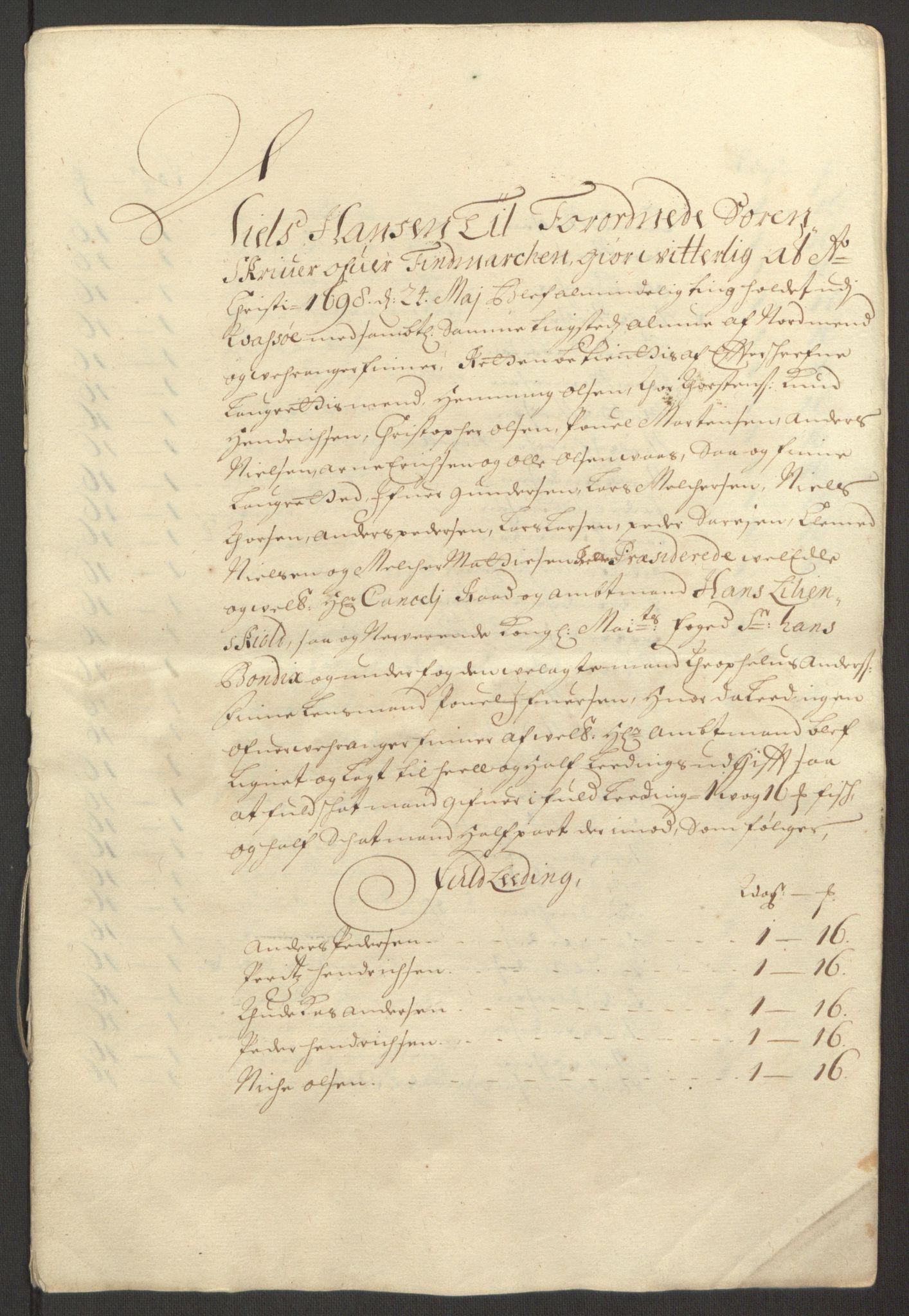 RA, Rentekammeret inntil 1814, Reviderte regnskaper, Fogderegnskap, R69/L4851: Fogderegnskap Finnmark/Vardøhus, 1691-1700, s. 367