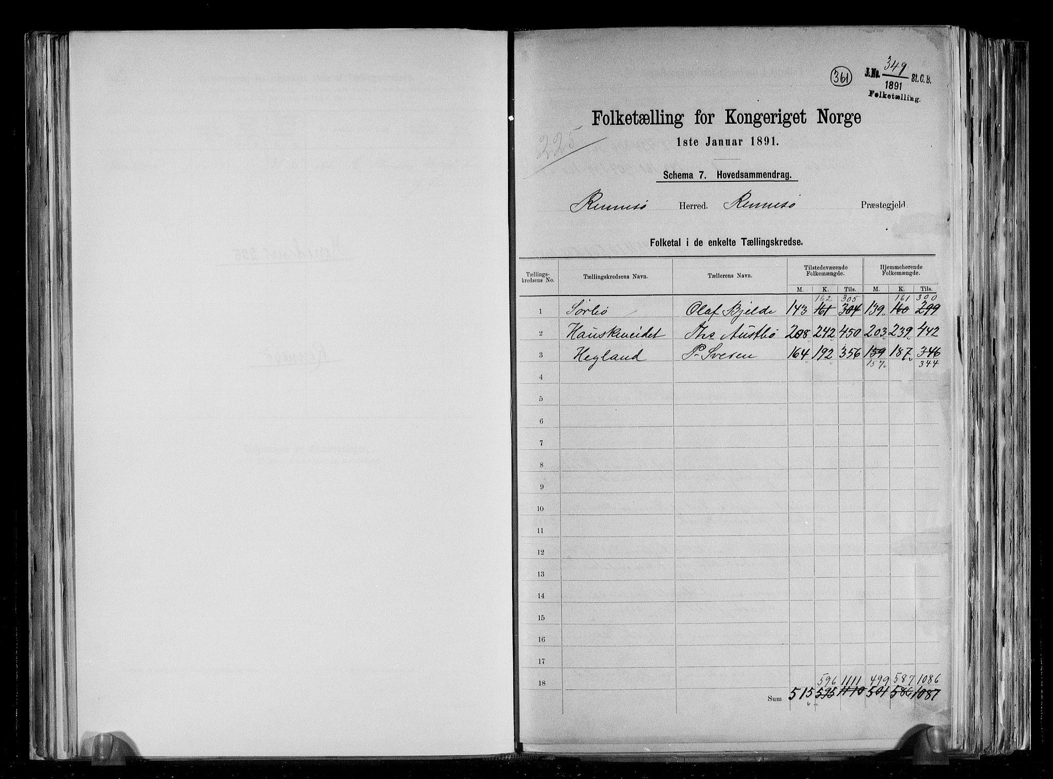 RA, Folketelling 1891 for 1142 Rennesøy herred, 1891, s. 2