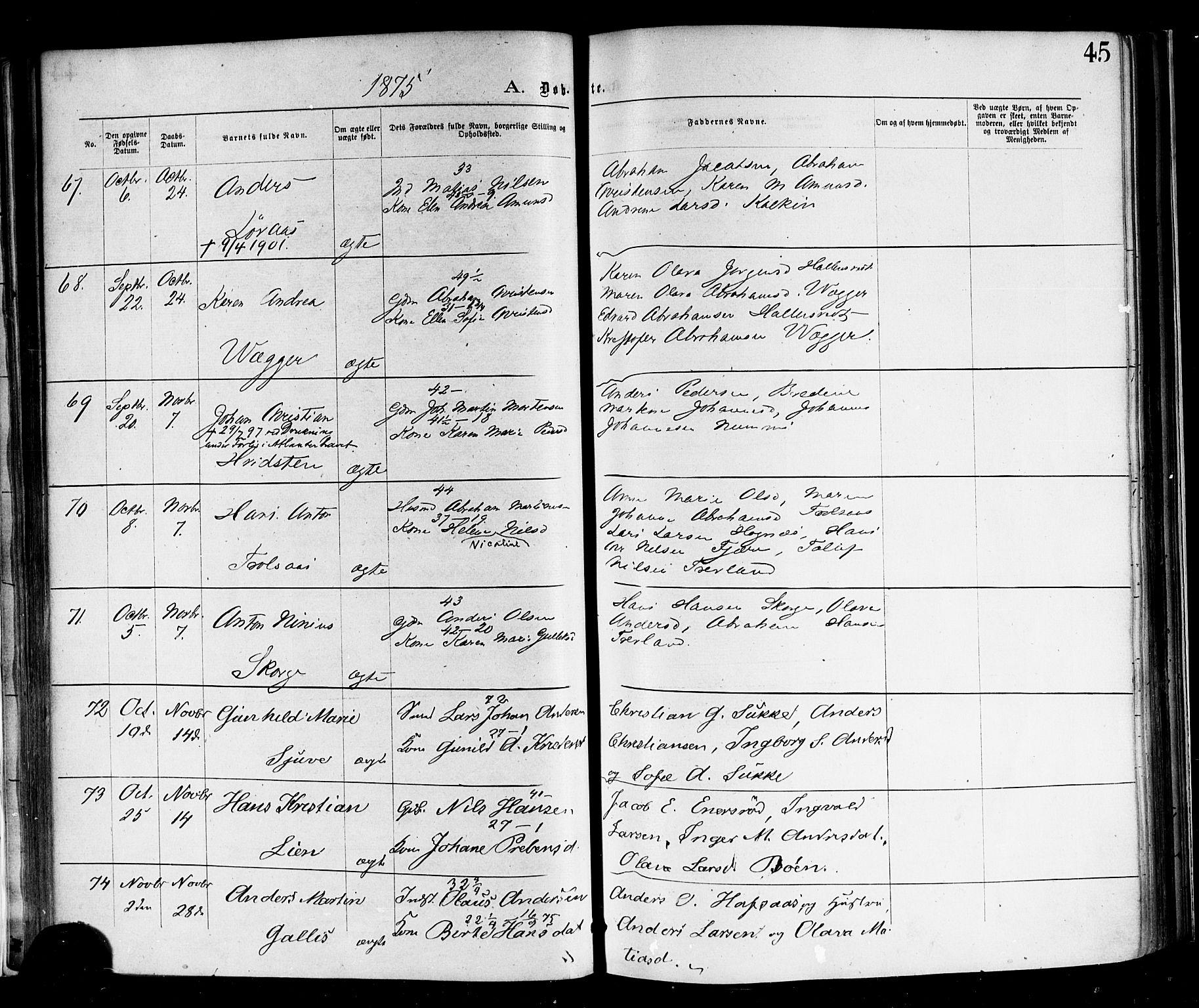SAKO, Andebu kirkebøker, F/Fa/L0006: Ministerialbok nr. 6, 1871-1878, s. 45