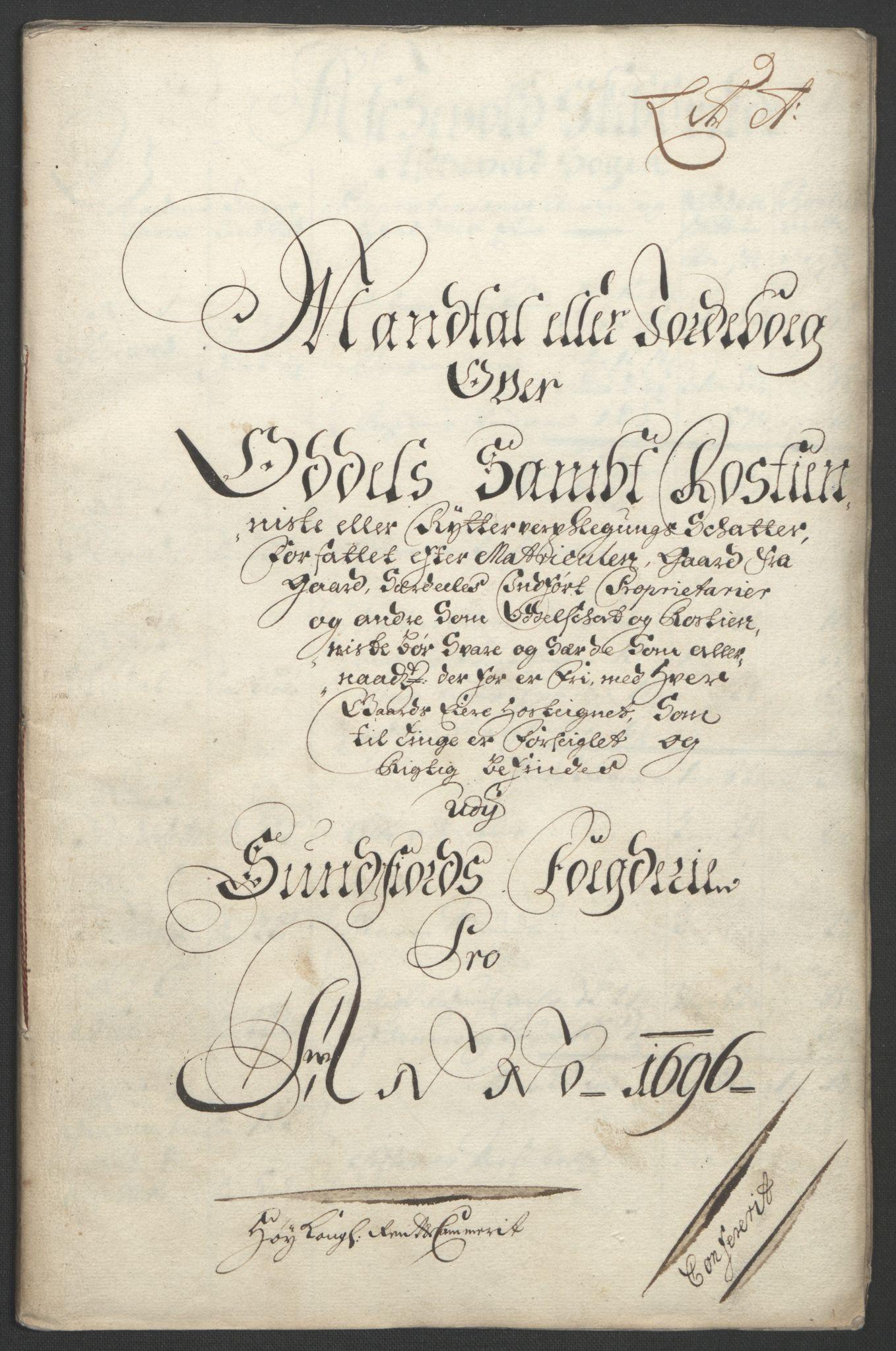 RA, Rentekammeret inntil 1814, Reviderte regnskaper, Fogderegnskap, R53/L3422: Fogderegnskap Sunn- og Nordfjord, 1695-1696, s. 233