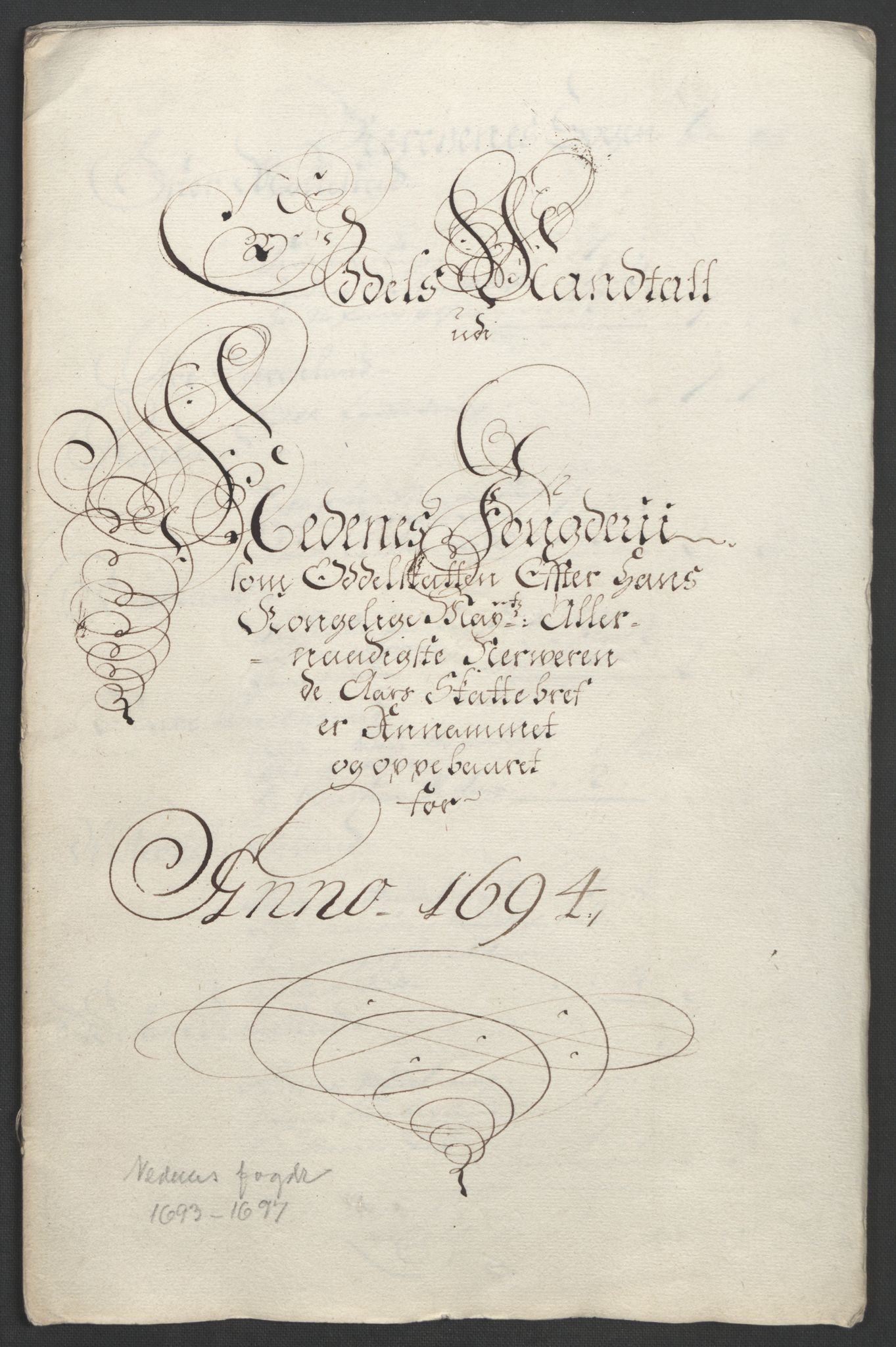 RA, Rentekammeret inntil 1814, Reviderte regnskaper, Fogderegnskap, R39/L2312: Fogderegnskap Nedenes, 1693-1695, s. 185