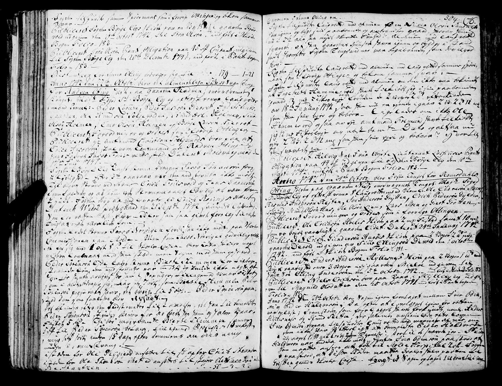 SAT, Romsdal sorenskriveri, 1/1A/L0012: Tingbok, 1740-1749, s. 75b-76a