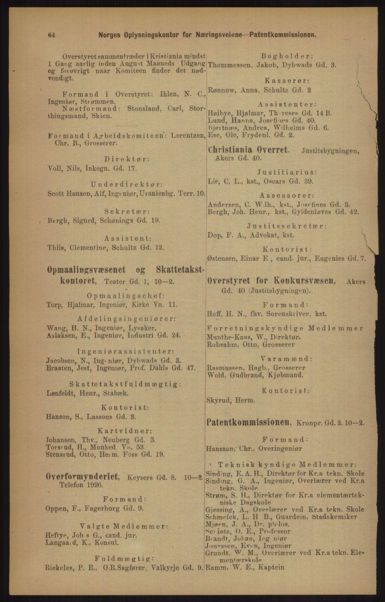 RA, Kristiania adressebok (publikasjon)*, 1905, s. 64