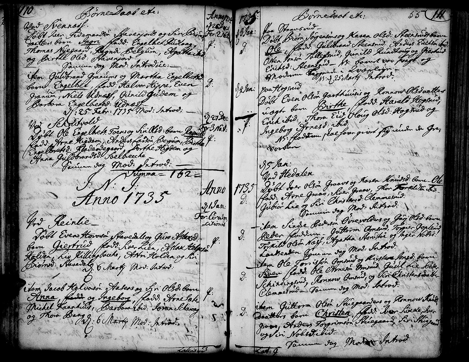 SAH, Aurdal prestekontor, Ministerialbok nr. 4, 1730-1762, s. 110-111