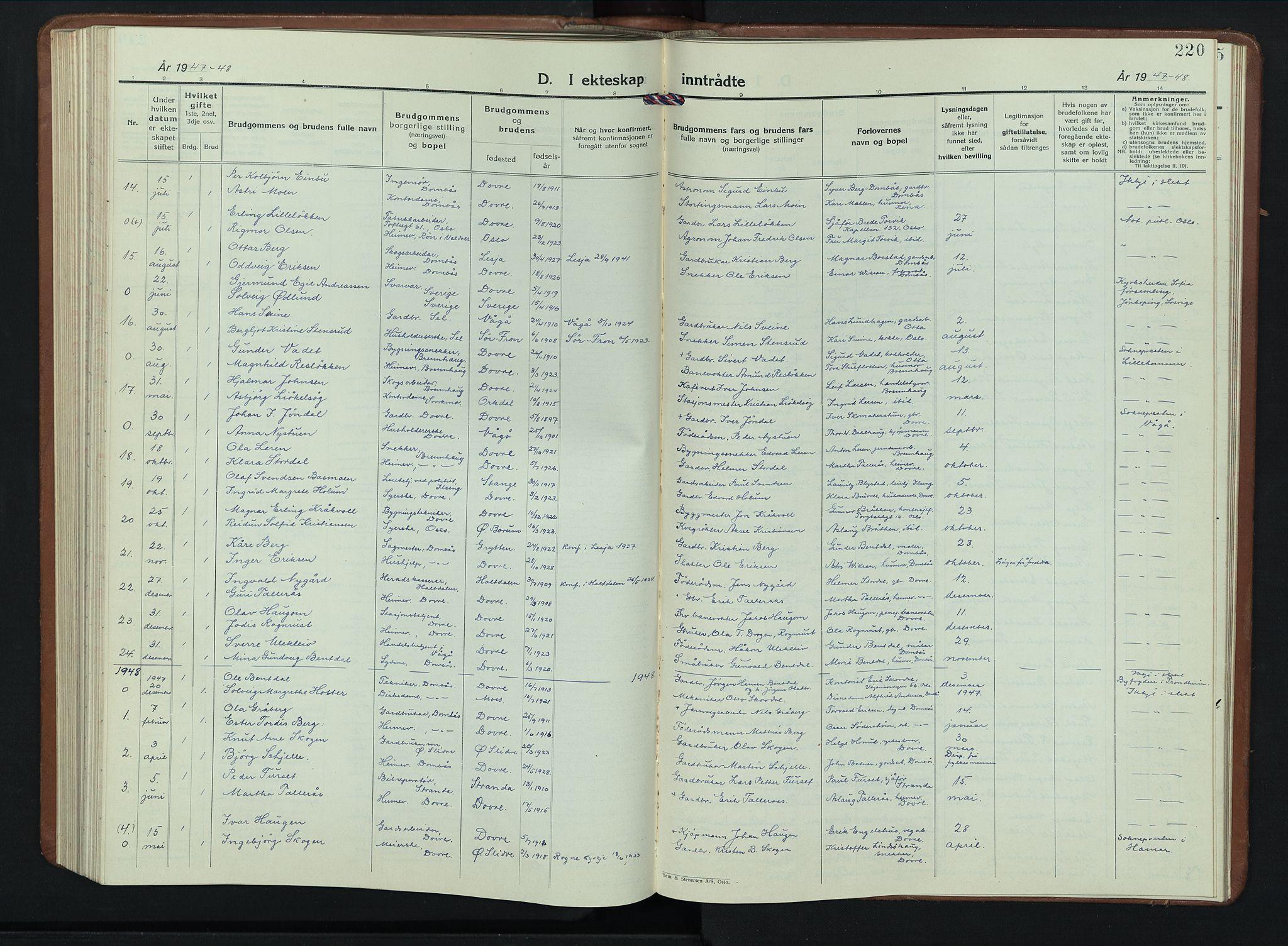 SAH, Dovre prestekontor, Klokkerbok nr. 4, 1926-1949, s. 220