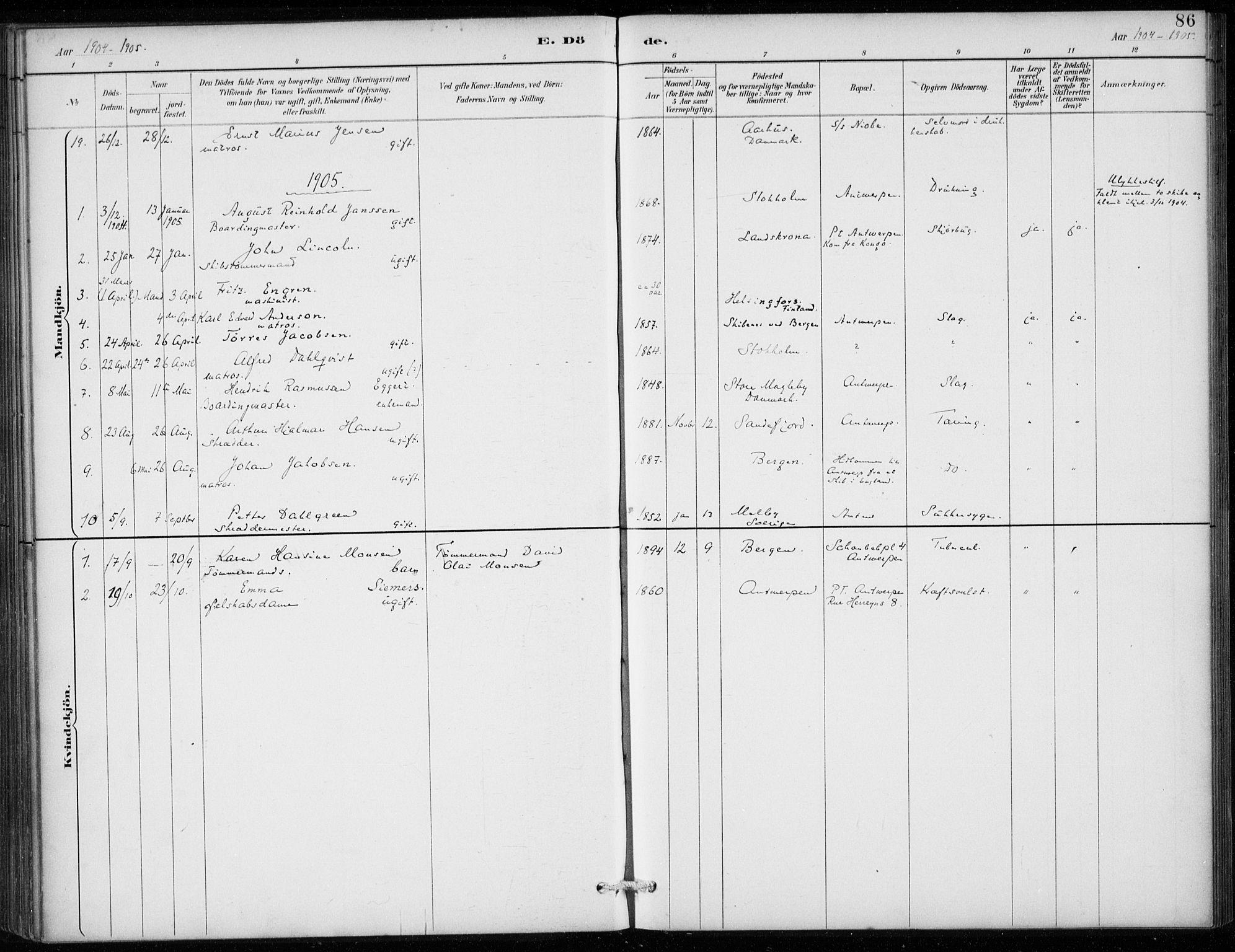 SAB, Den Norske Sjømannsmisjon i utlandet*, Ministerialbok nr. A 2, 1887-1913, s. 86