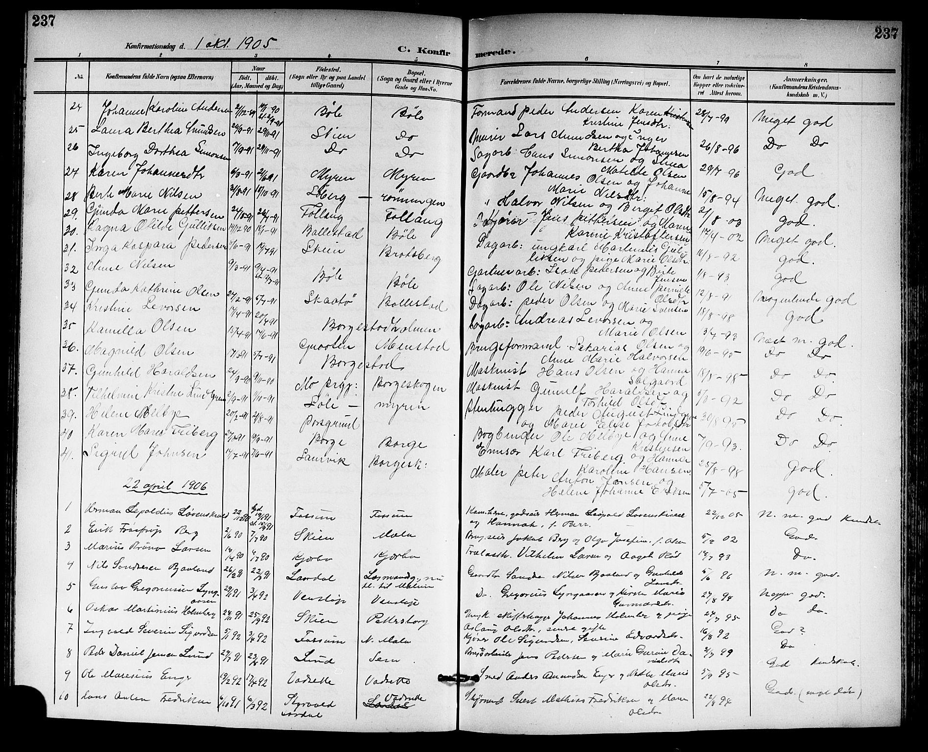 SAKO, Gjerpen kirkebøker, G/Ga/L0003: Klokkerbok nr. I 3, 1901-1919, s. 237