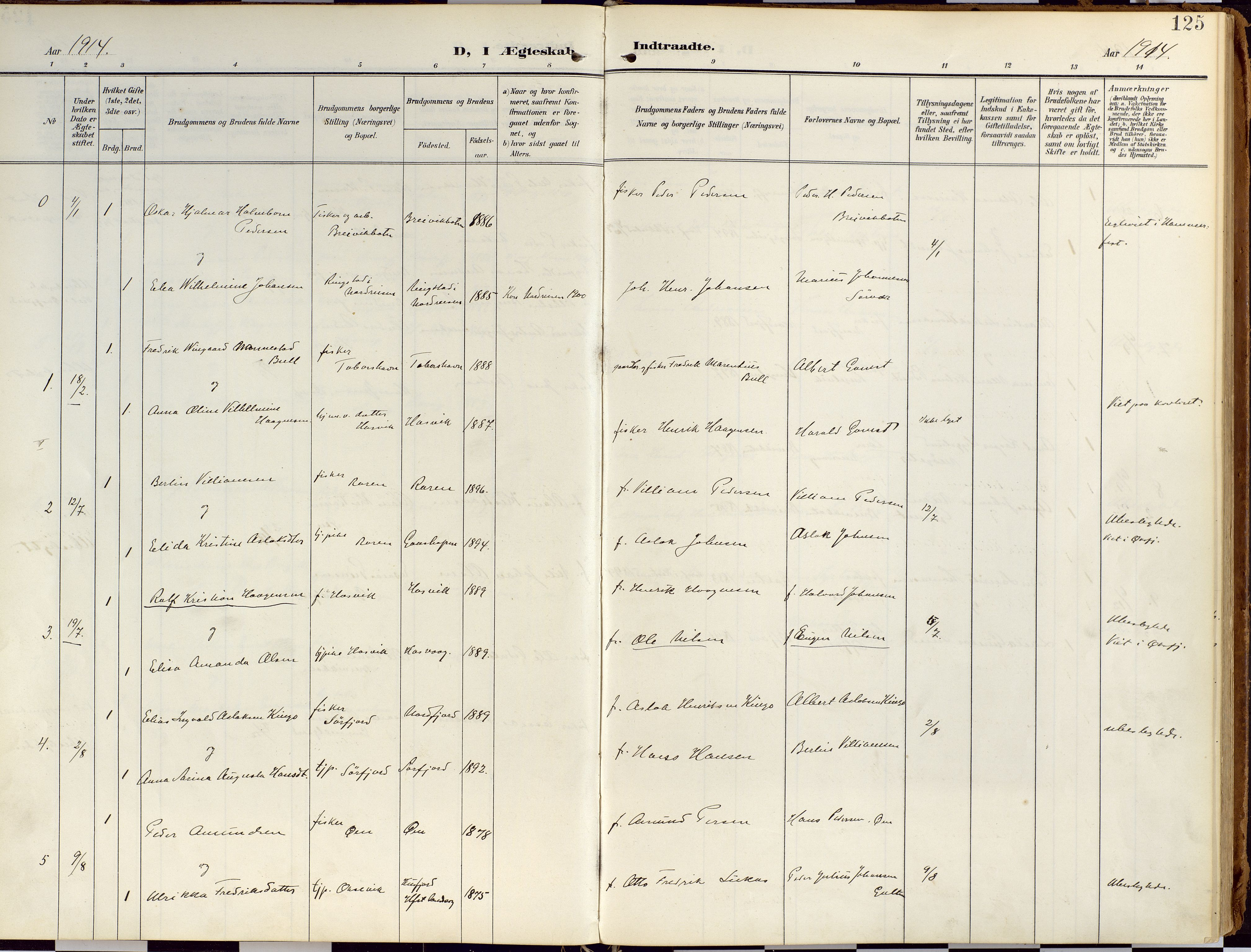SATØ, Loppa sokneprestkontor, H/Ha/L0010kirke: Ministerialbok nr. 10, 1907-1922, s. 125