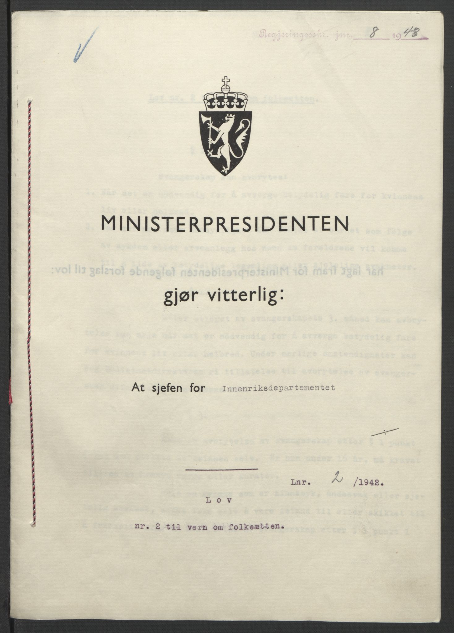 RA, NS-administrasjonen 1940-1945 (Statsrådsekretariatet, de kommisariske statsråder mm), D/Db/L0099: Lover, 1943, s. 7