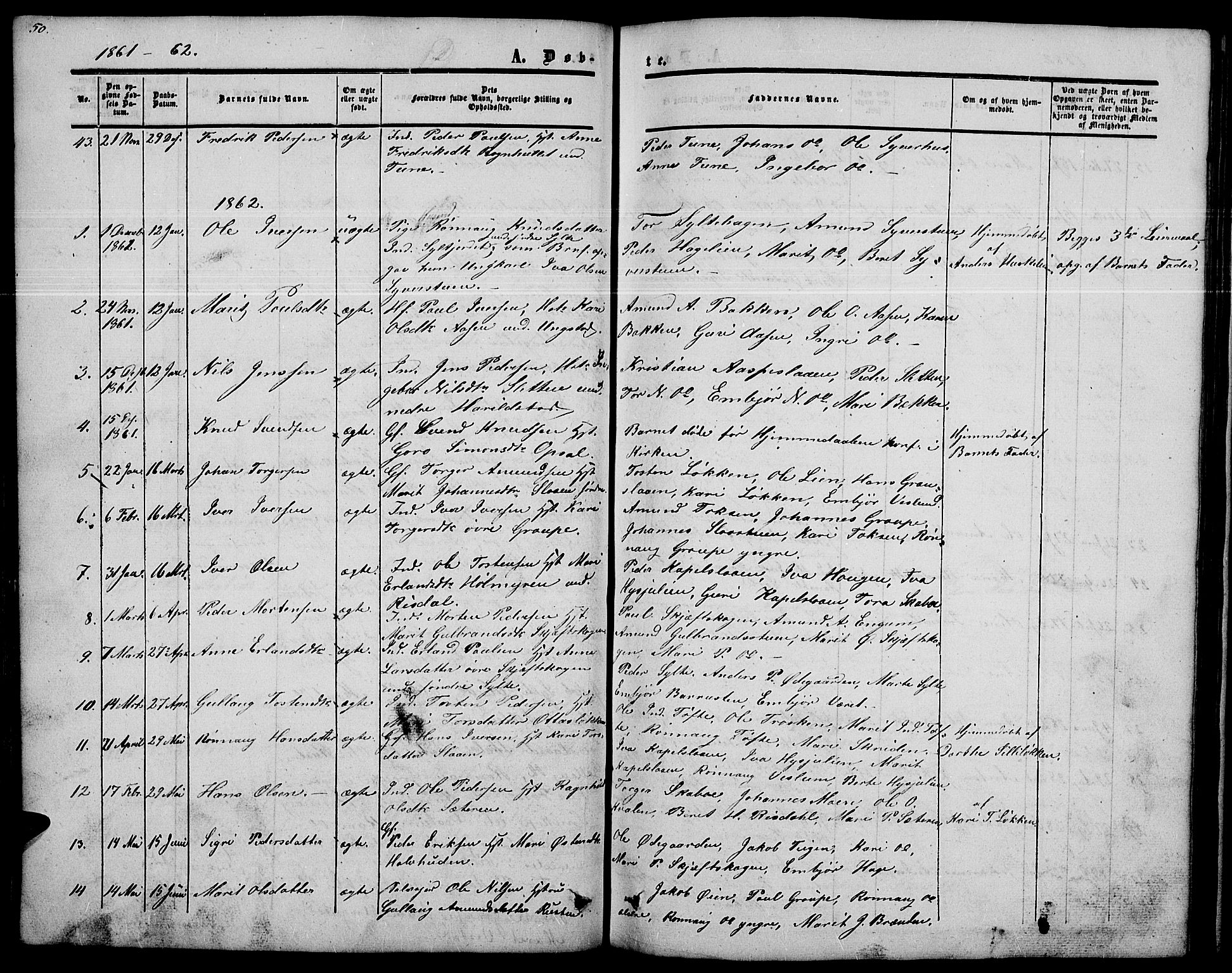 SAH, Nord-Fron prestekontor, Klokkerbok nr. 2, 1851-1883, s. 50