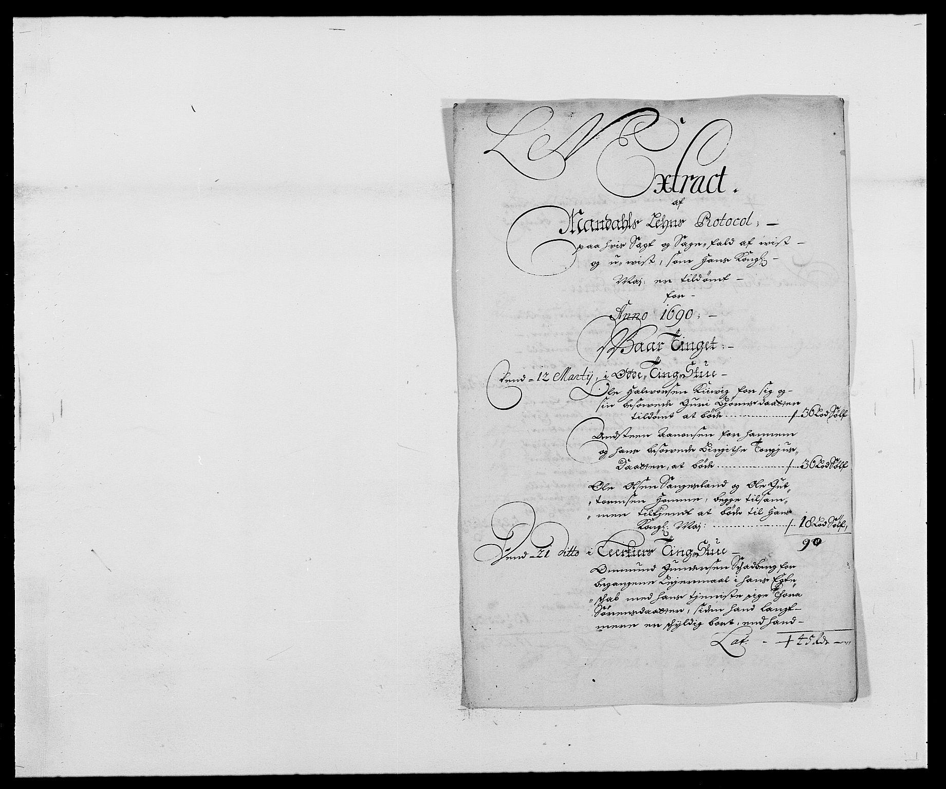 RA, Rentekammeret inntil 1814, Reviderte regnskaper, Fogderegnskap, R42/L2543: Mandal fogderi, 1688-1691, s. 205