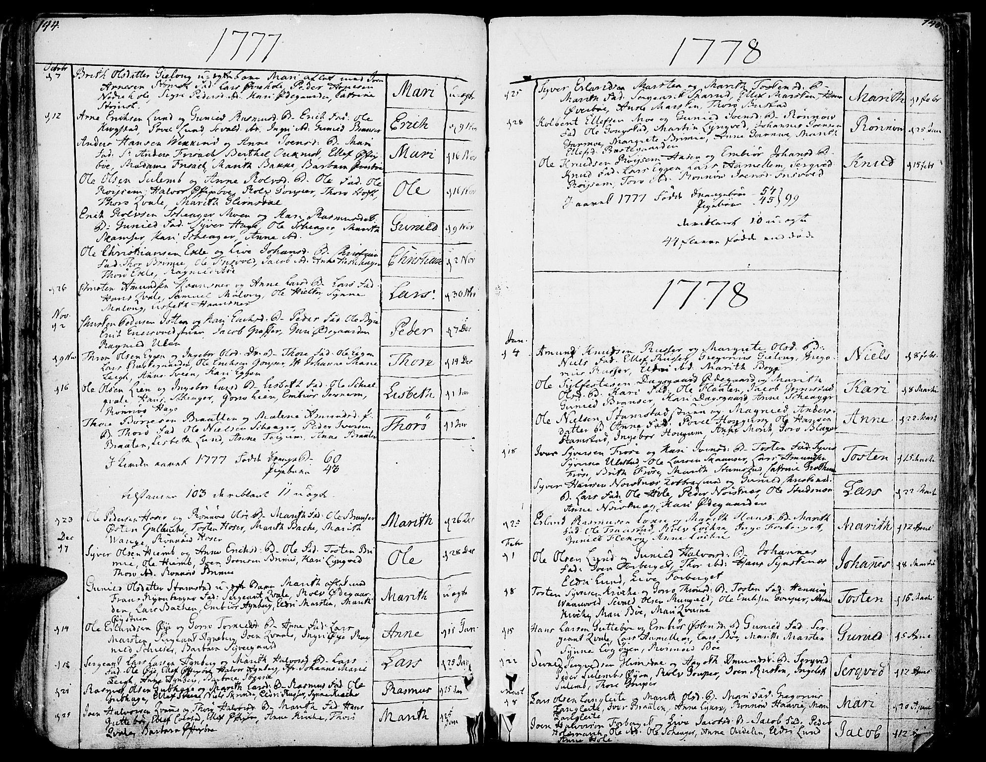 SAH, Lom prestekontor, K/L0002: Ministerialbok nr. 2, 1749-1801, s. 144-145