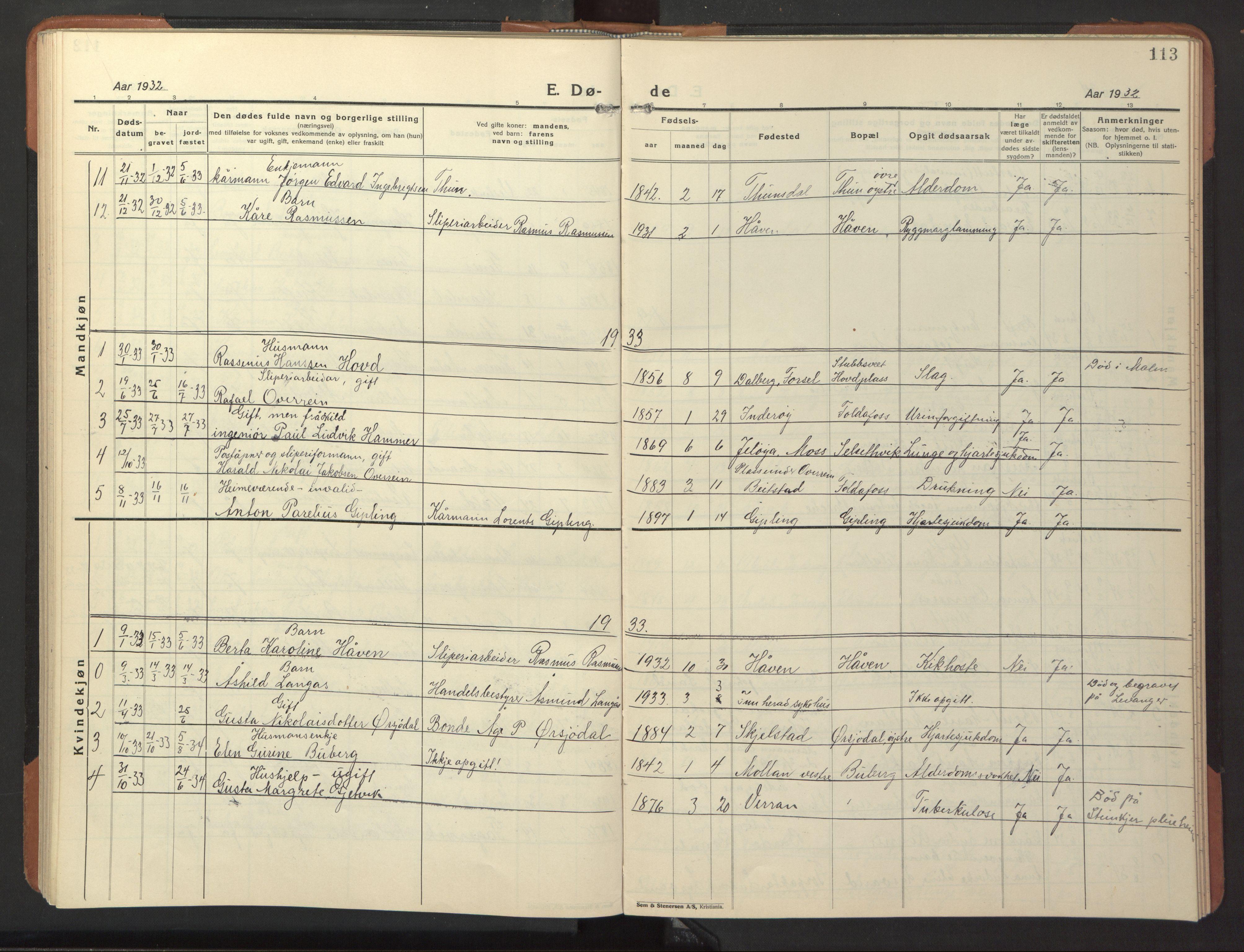SAT, Ministerialprotokoller, klokkerbøker og fødselsregistre - Nord-Trøndelag, 744/L0425: Klokkerbok nr. 744C04, 1924-1947, s. 113
