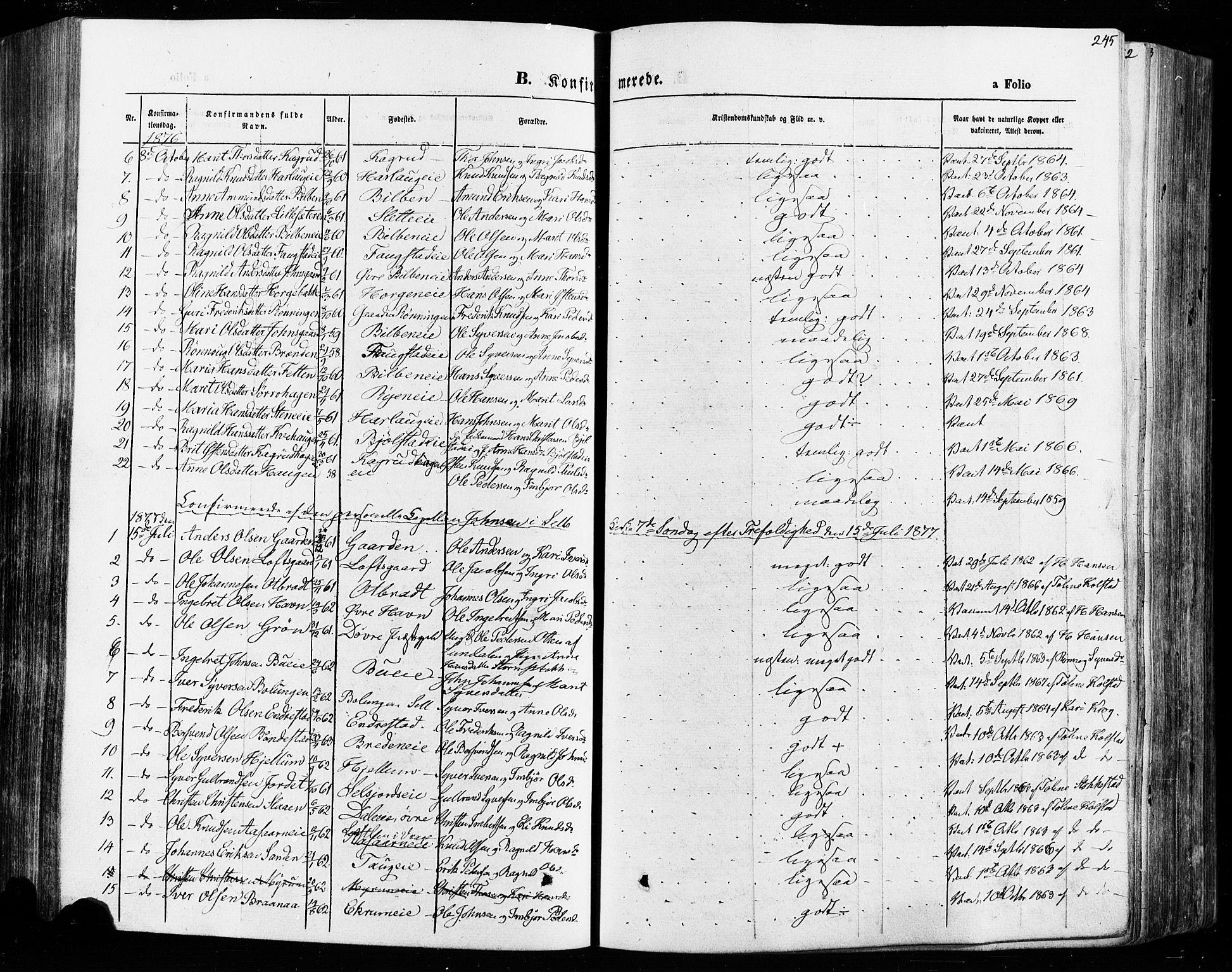 SAH, Vågå prestekontor, Ministerialbok nr. 7 /1, 1872-1886, s. 245