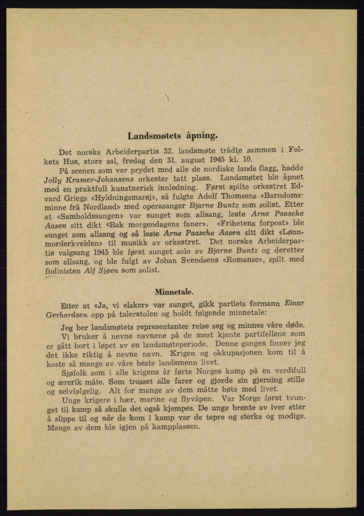 AAB, Det norske Arbeiderparti - publikasjoner, -/-: Protokoll over forhandlingene på landsmøtet 31. august og 1.-2. september 1945, 1945, s. 7
