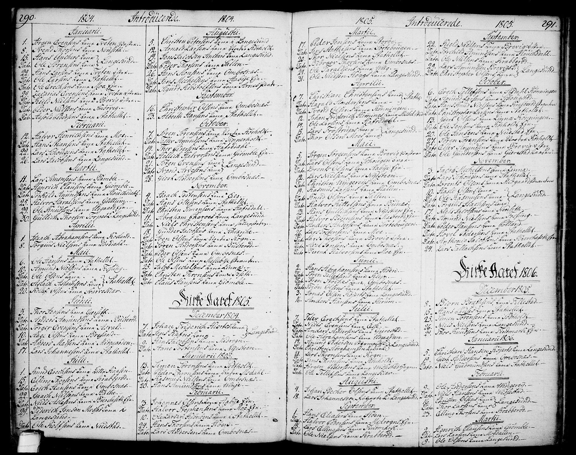 SAKO, Bamble kirkebøker, F/Fa/L0002: Ministerialbok nr. I 2, 1775-1814, s. 290-291