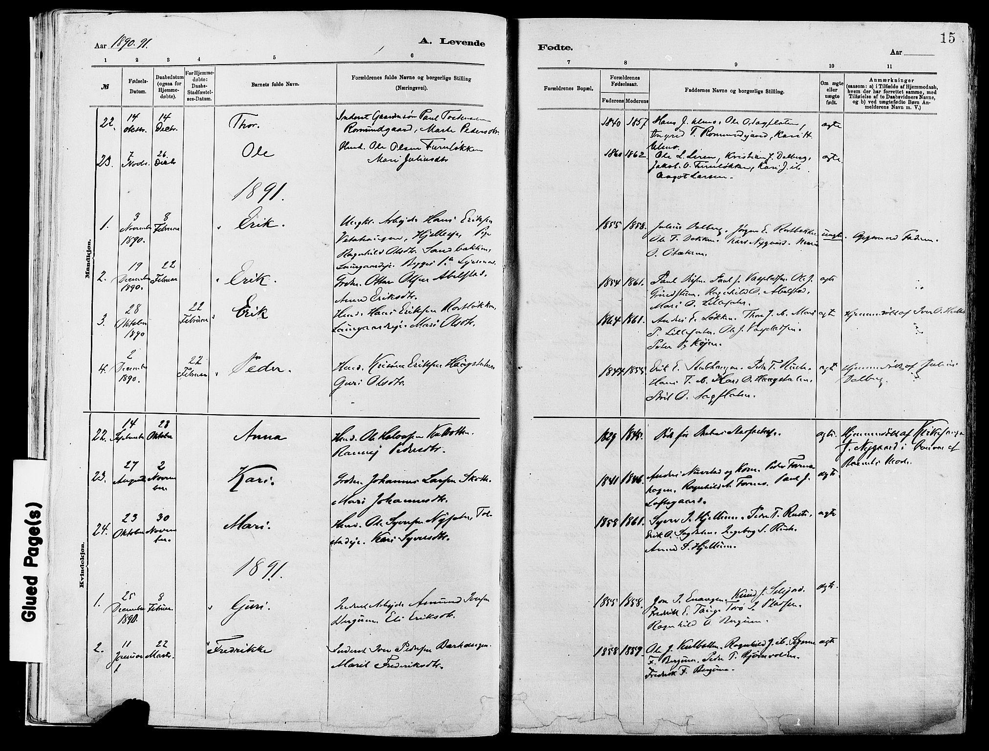 SAH, Vågå prestekontor, Ministerialbok nr. 8, 1886-1904, s. 15