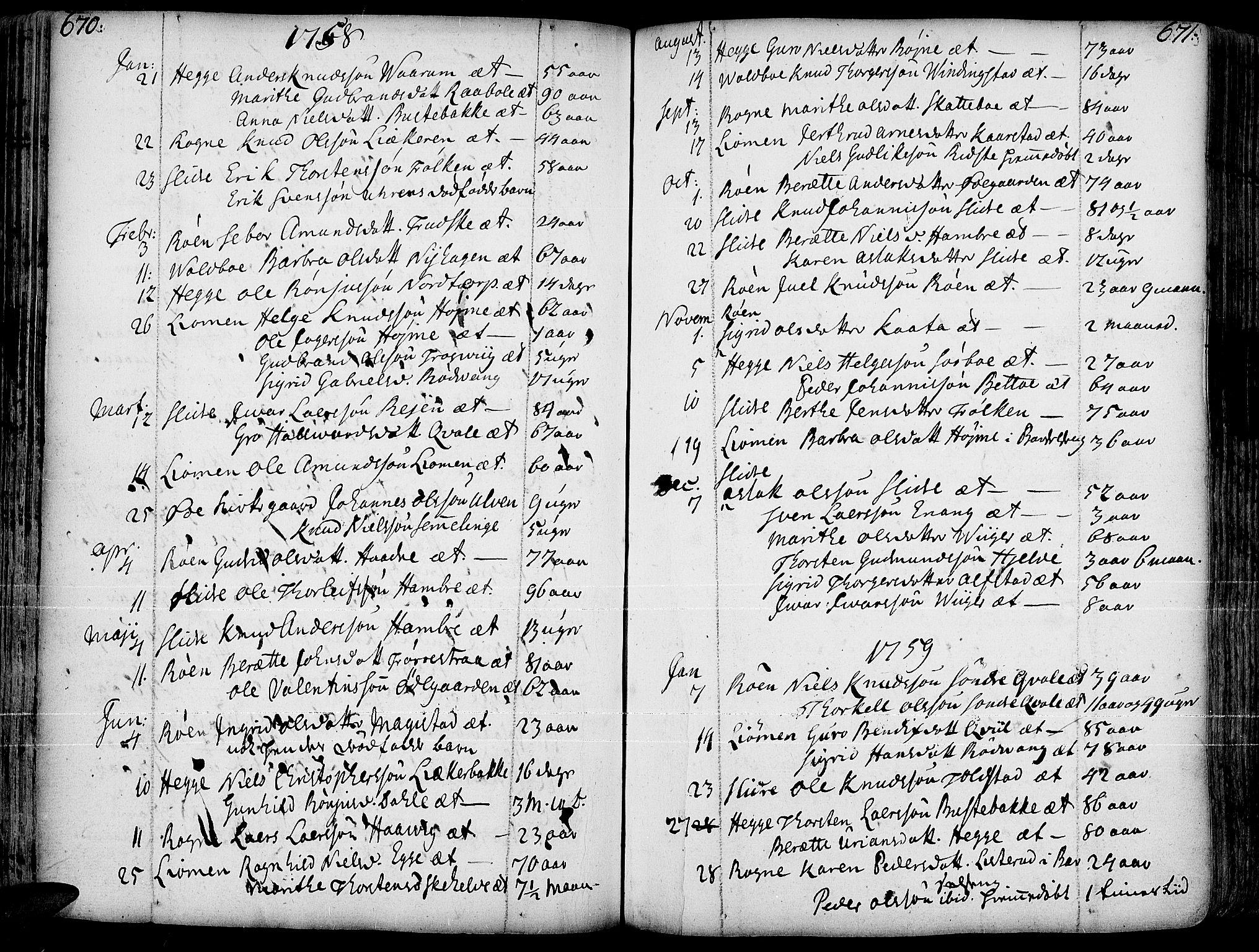 SAH, Slidre prestekontor, Ministerialbok nr. 1, 1724-1814, s. 670-671