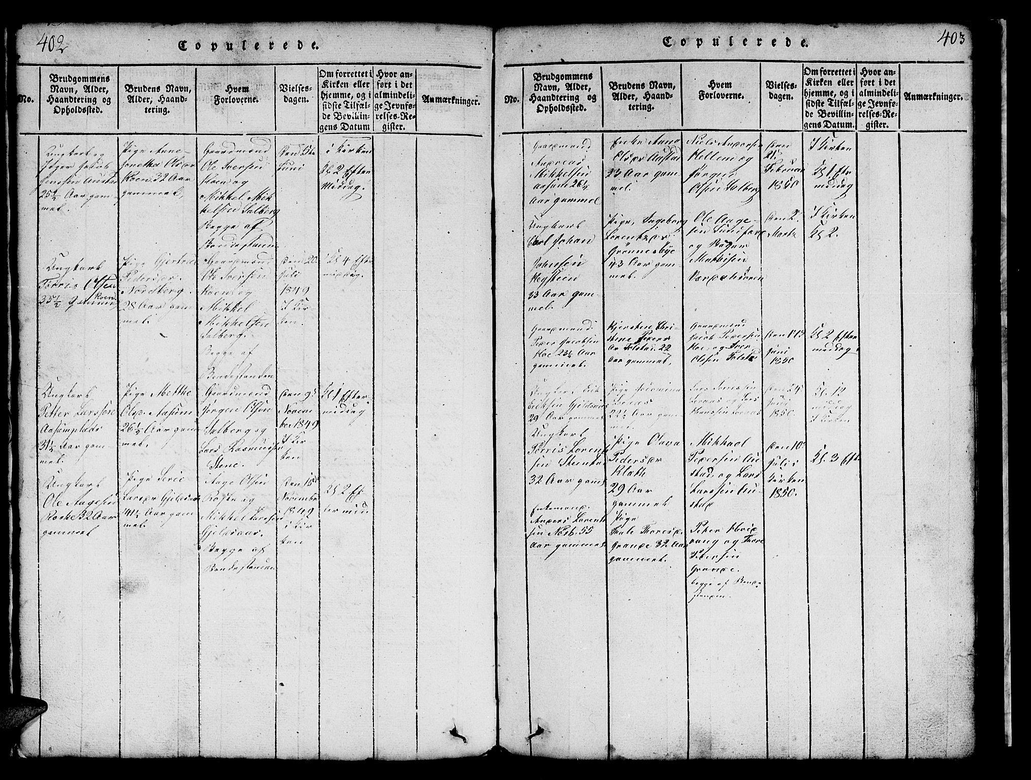 SAT, Ministerialprotokoller, klokkerbøker og fødselsregistre - Nord-Trøndelag, 731/L0310: Klokkerbok nr. 731C01, 1816-1874, s. 402-403