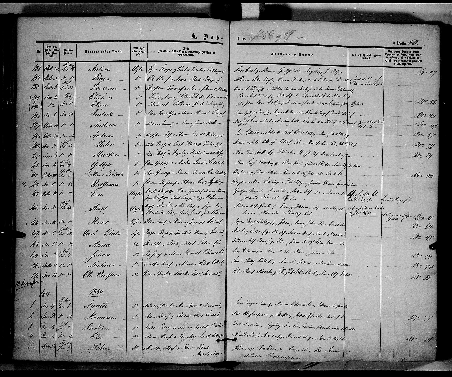 SAH, Land prestekontor, Ministerialbok nr. 9, 1847-1859, s. 60