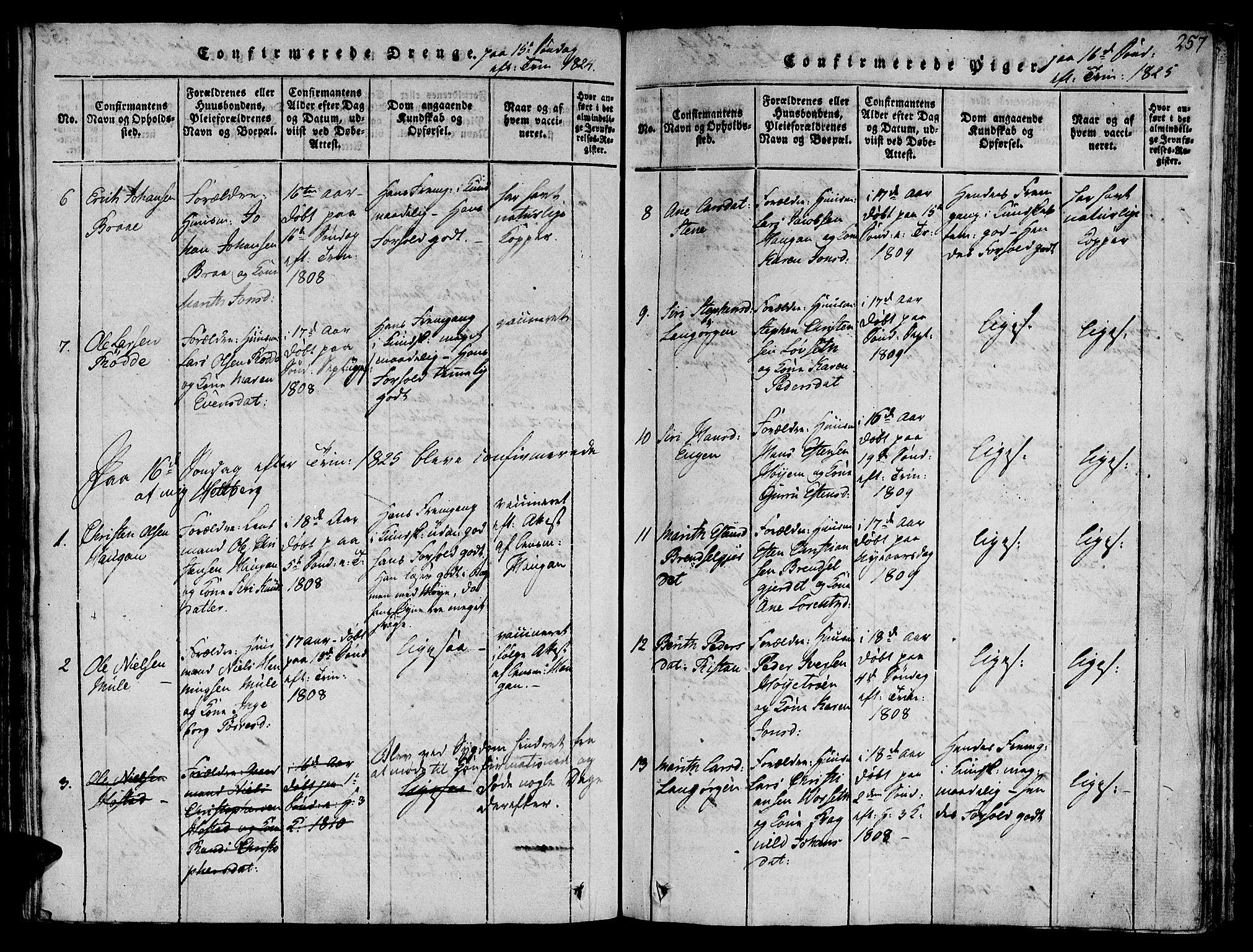 SAT, Ministerialprotokoller, klokkerbøker og fødselsregistre - Sør-Trøndelag, 612/L0372: Ministerialbok nr. 612A06 /1, 1816-1828, s. 257