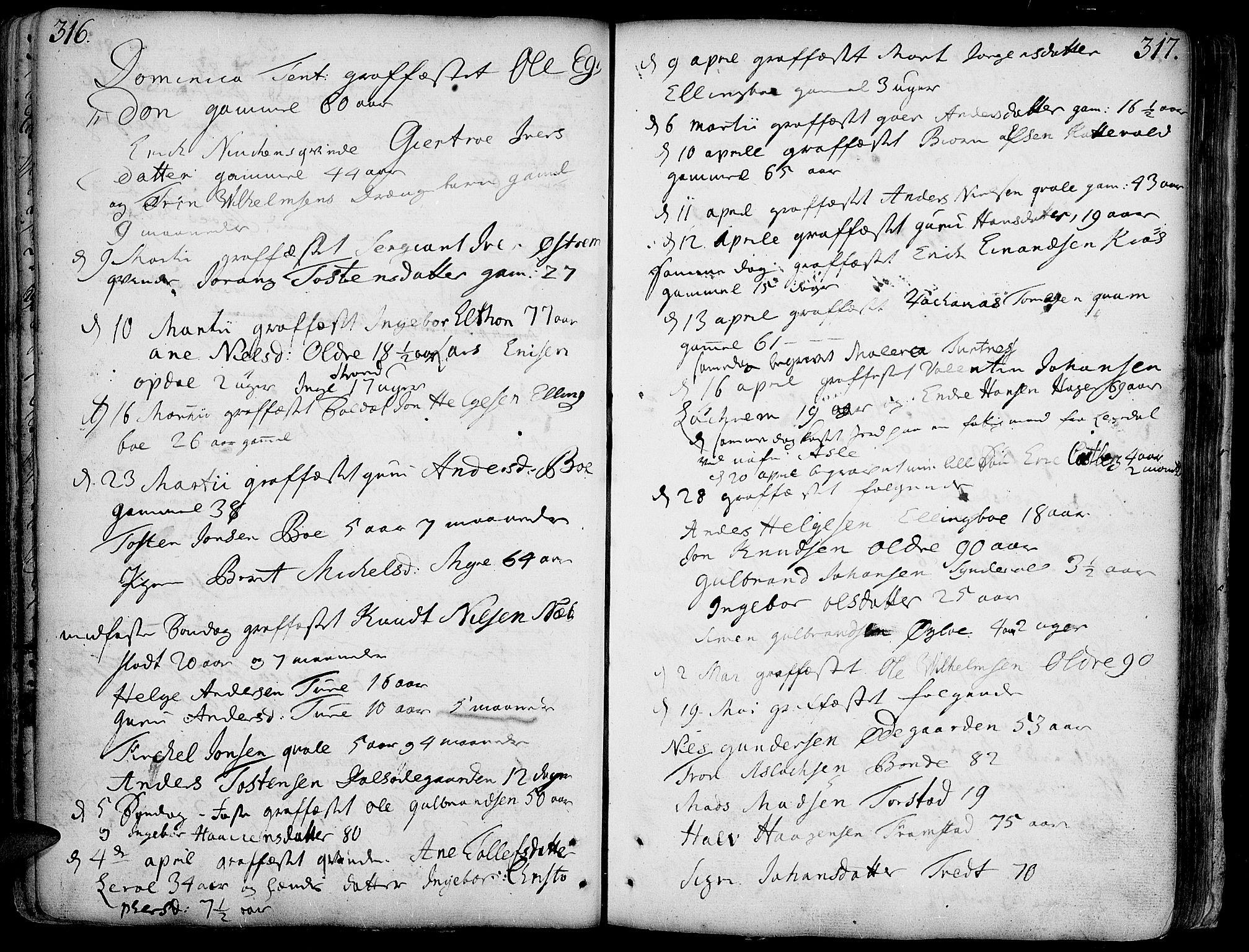 SAH, Vang prestekontor, Valdres, Ministerialbok nr. 1, 1730-1796, s. 316-317
