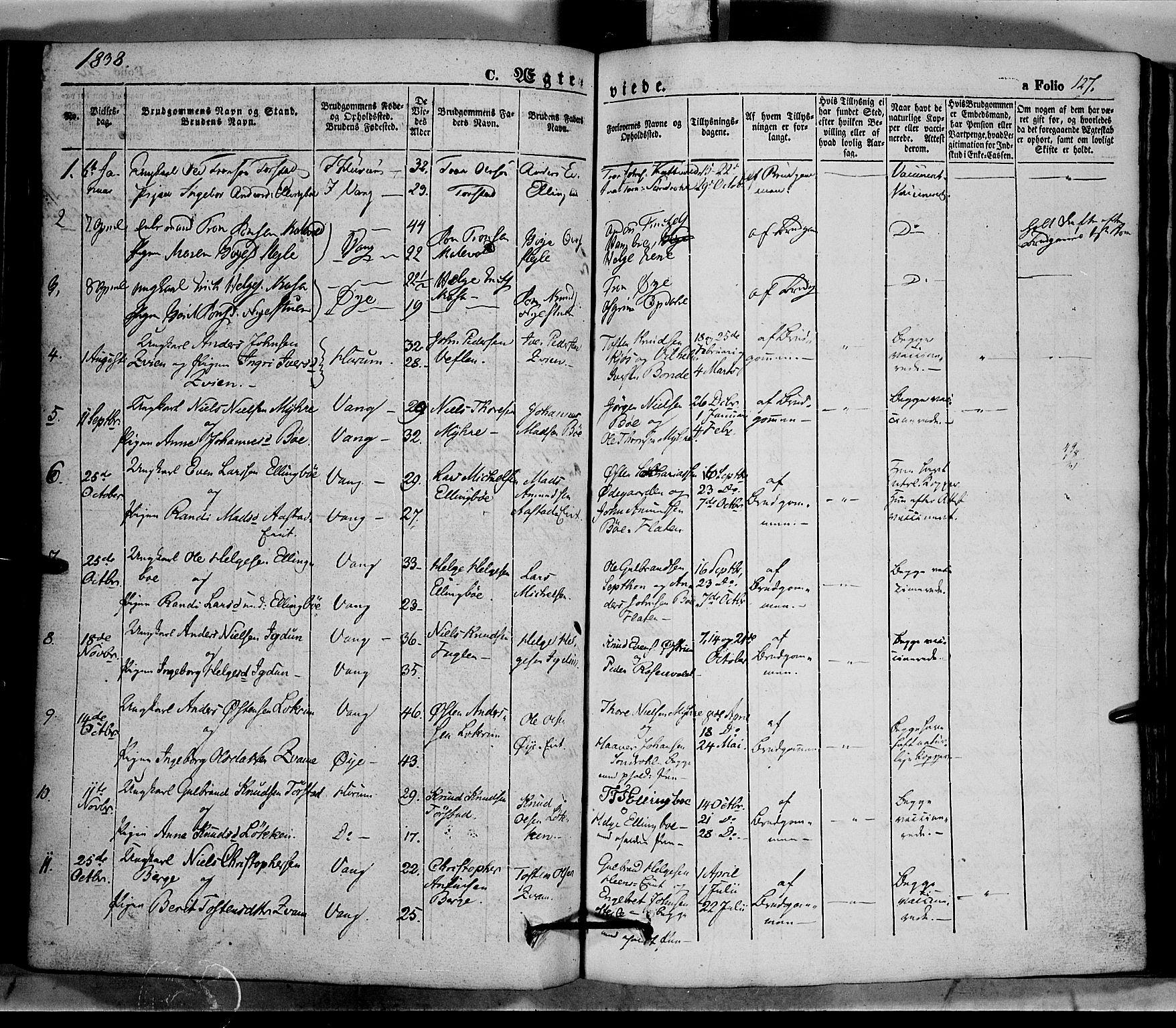SAH, Vang prestekontor, Valdres, Ministerialbok nr. 5, 1831-1845, s. 127