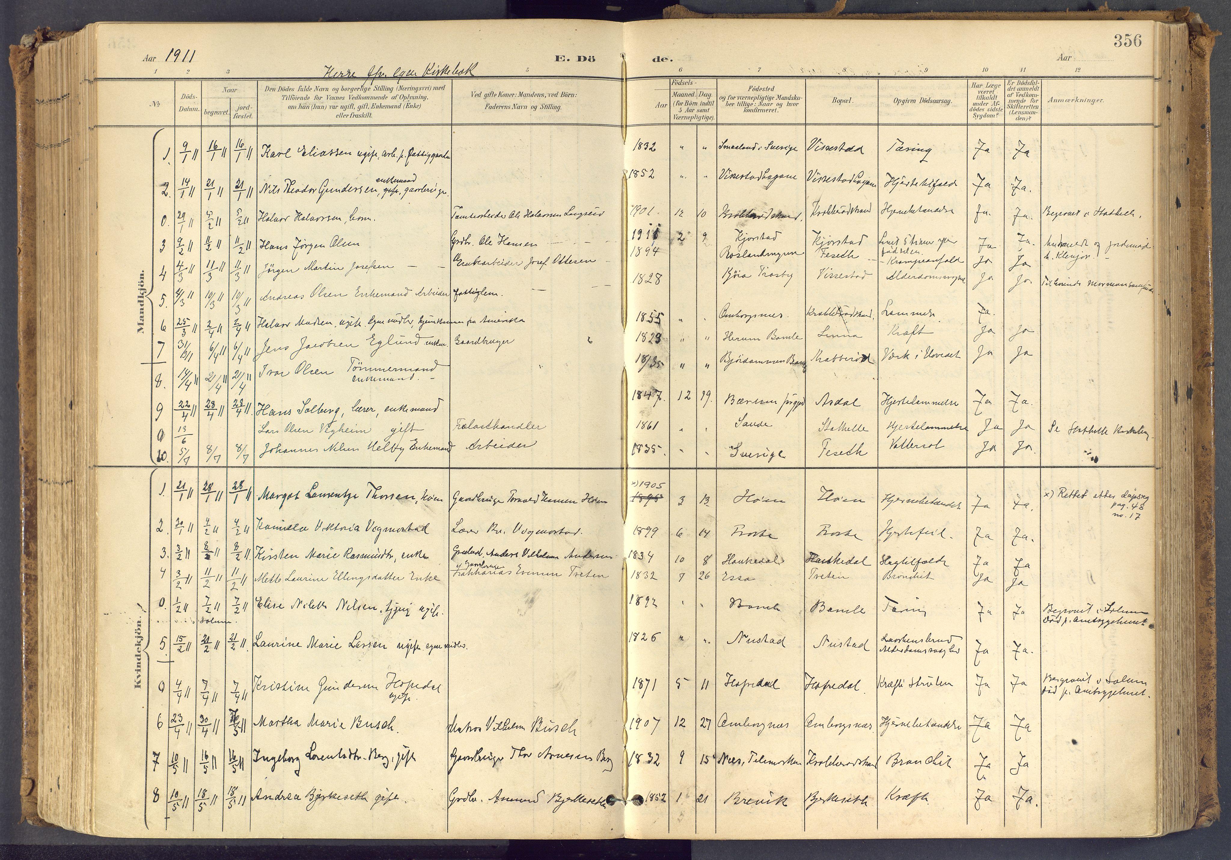 SAKO, Bamble kirkebøker, F/Fa/L0009: Ministerialbok nr. I 9, 1901-1917, s. 356