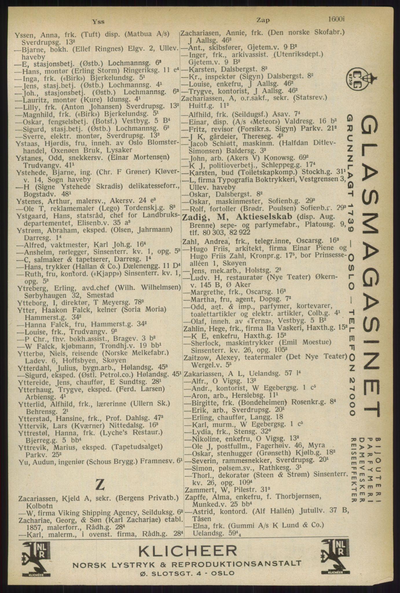 RA, Oslo adressebok (publikasjon)*, 1937, s. 1600
