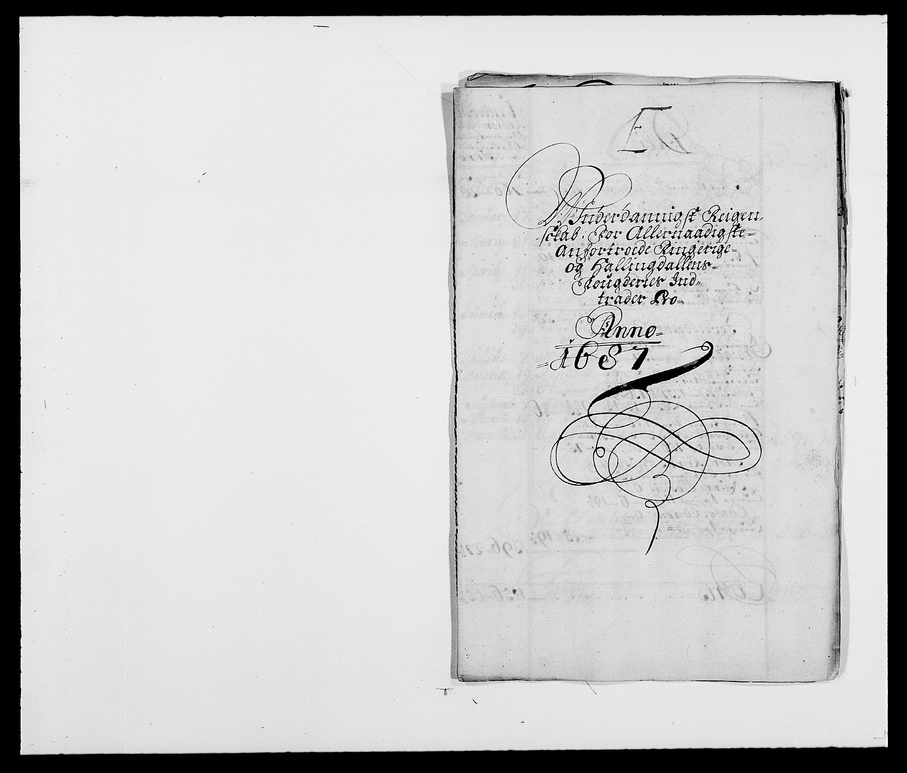 RA, Rentekammeret inntil 1814, Reviderte regnskaper, Fogderegnskap, R21/L1447: Fogderegnskap Ringerike og Hallingdal, 1687-1689, s. 1