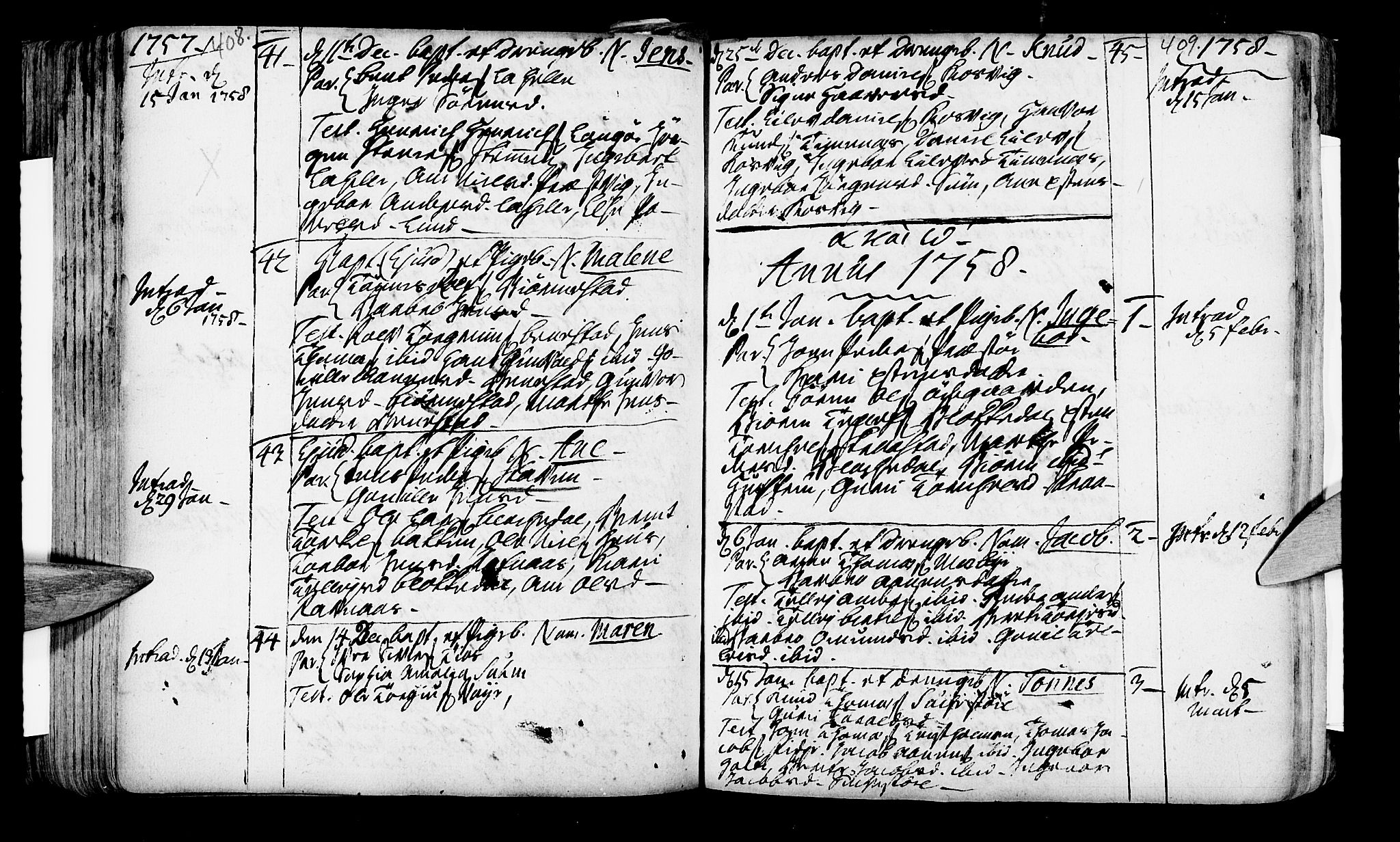 SAK, Oddernes sokneprestkontor, F/Fa/Faa/L0002: Ministerialbok nr. A 2, 1719-1764, s. 408-409