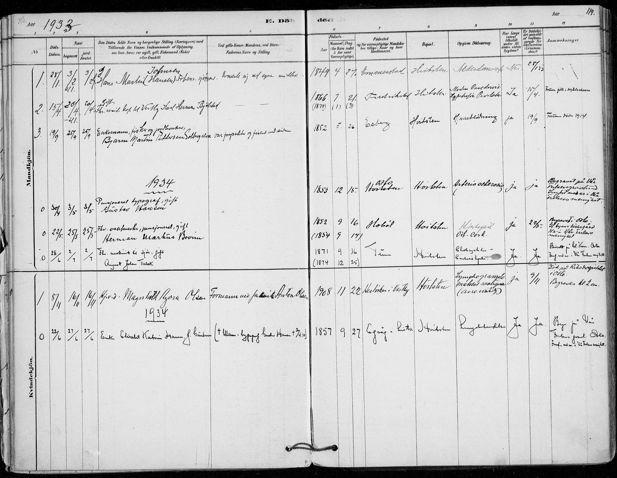 SAO, Vestby prestekontor Kirkebøker, F/Fd/L0001: Ministerialbok nr. IV 1, 1878-1945, s. 119