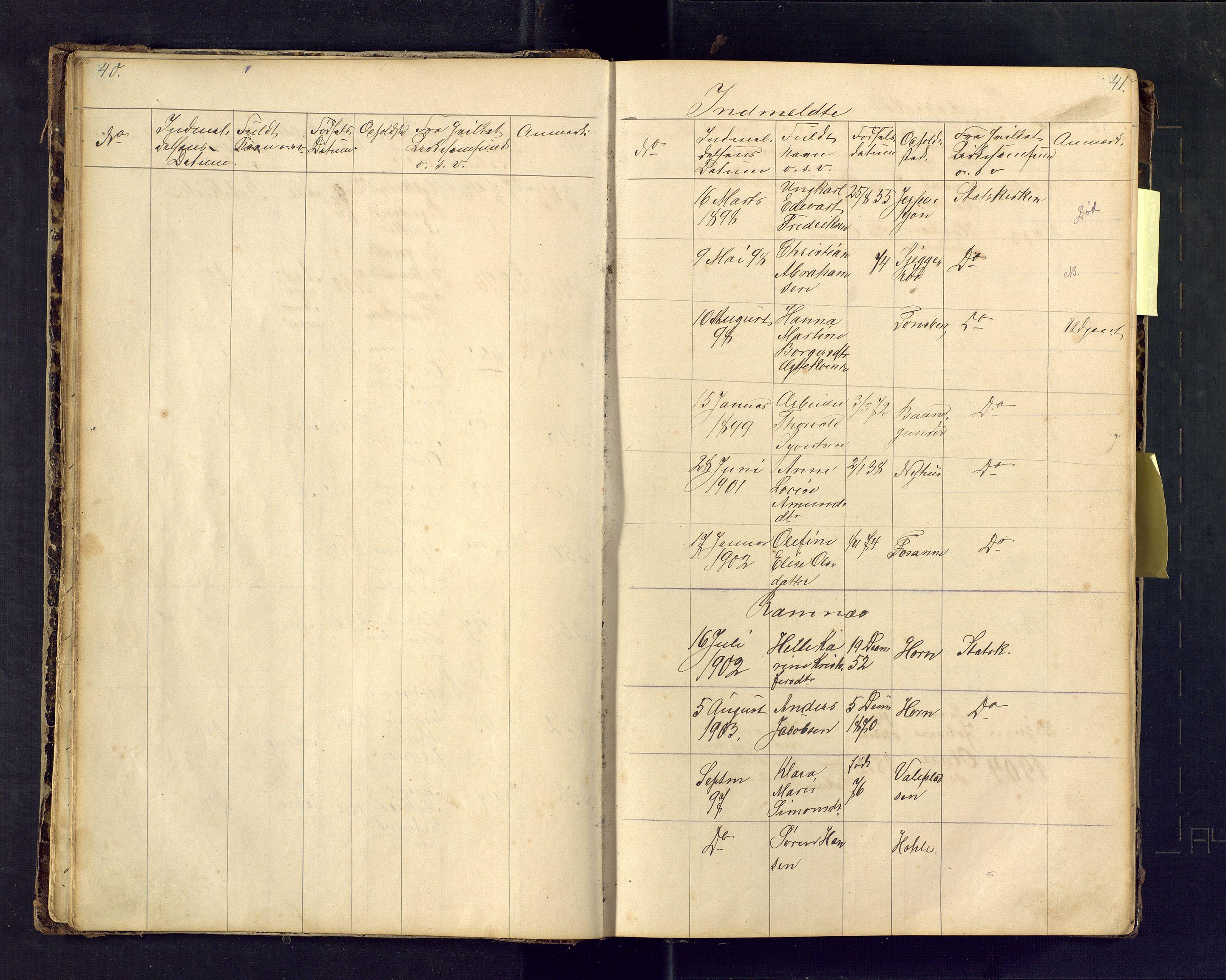 SAKO, Den evangelisk lutherske frimenighet i Jarlsbergs grevskap med flere steder, F/Fa/L0001: Dissenterprotokoll nr. Fa/L0001, 1872-1925, s. 40-41