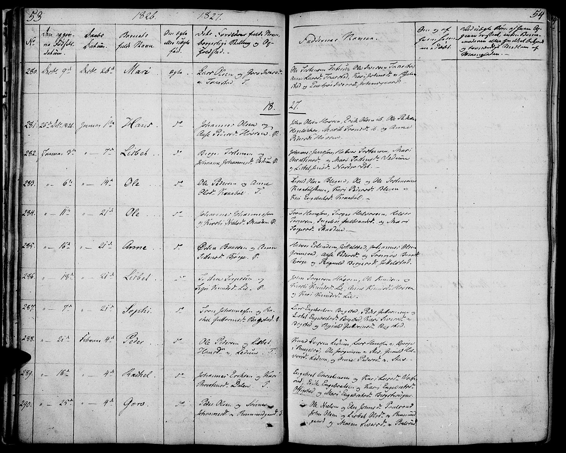 SAH, Øyer prestekontor, Ministerialbok nr. 4, 1824-1841, s. 53-54