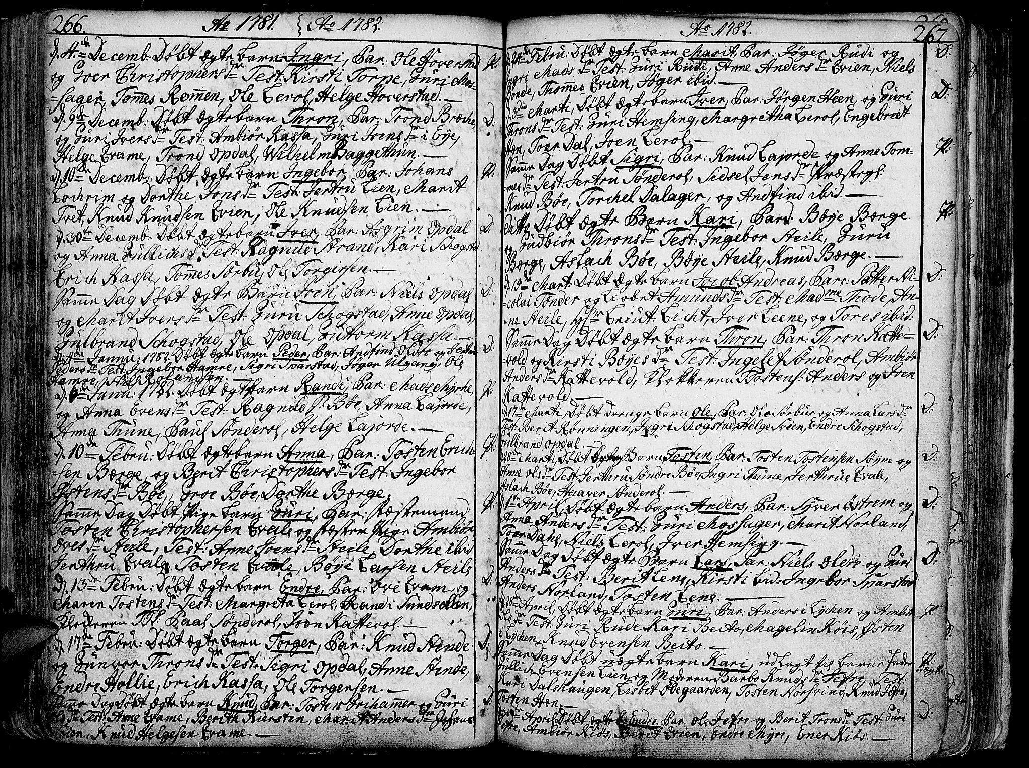 SAH, Vang prestekontor, Valdres, Ministerialbok nr. 1, 1730-1796, s. 266-267