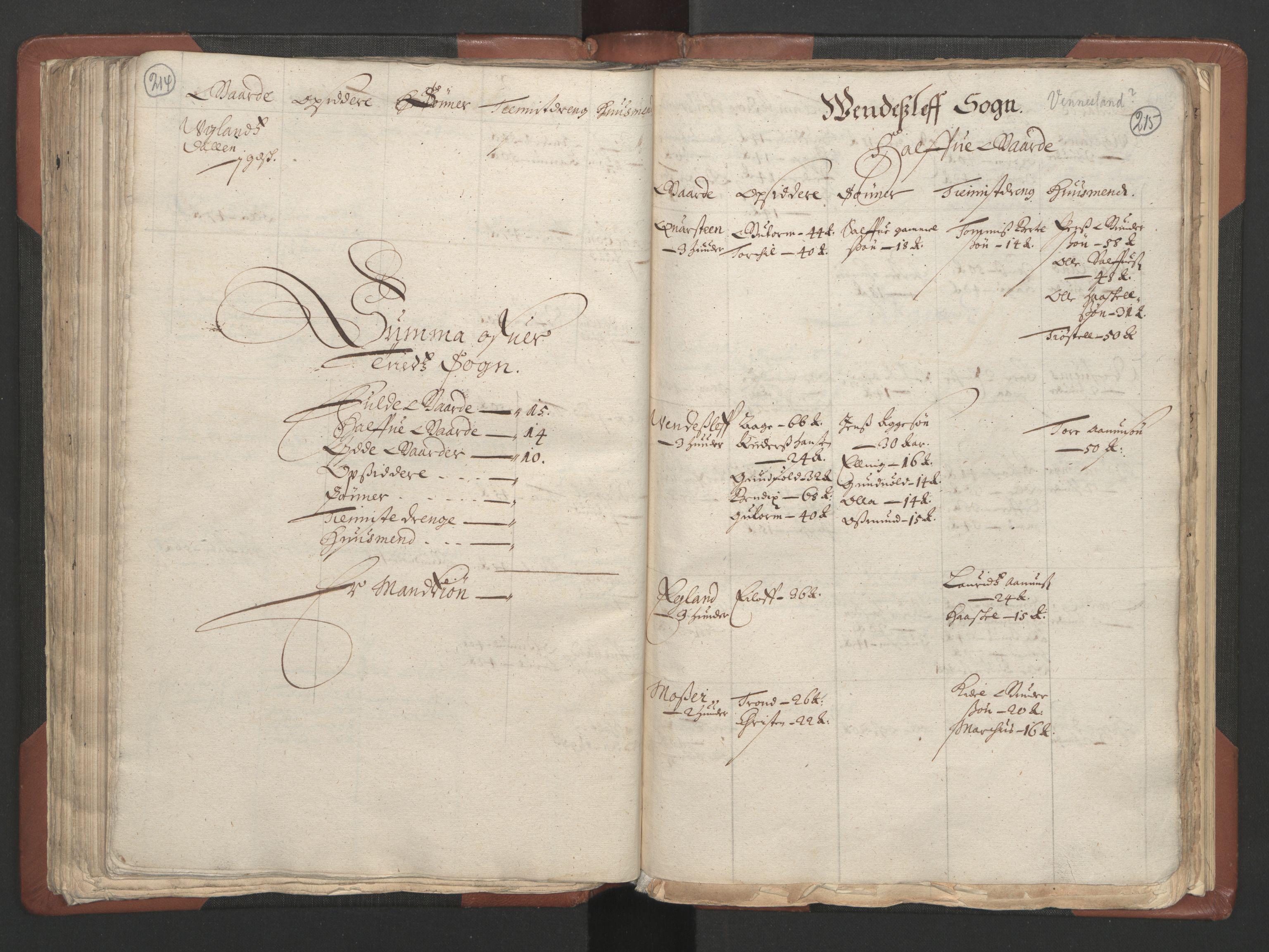 RA, Fogdenes og sorenskrivernes manntall 1664-1666, nr. 9: Mandal len, 1664-1666, s. 214-215