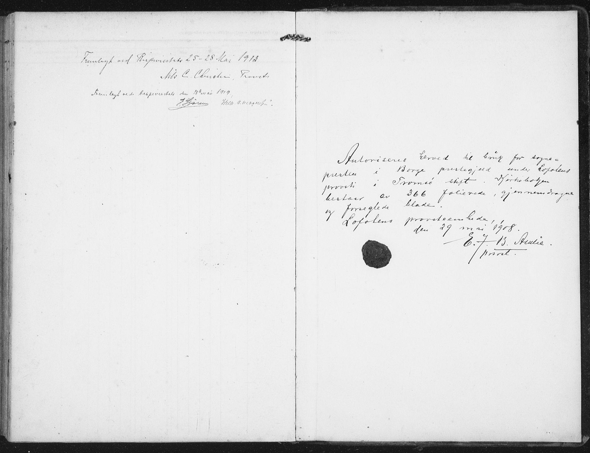 SAT, Ministerialprotokoller, klokkerbøker og fødselsregistre - Nordland, 880/L1135: Ministerialbok nr. 880A09, 1908-1919