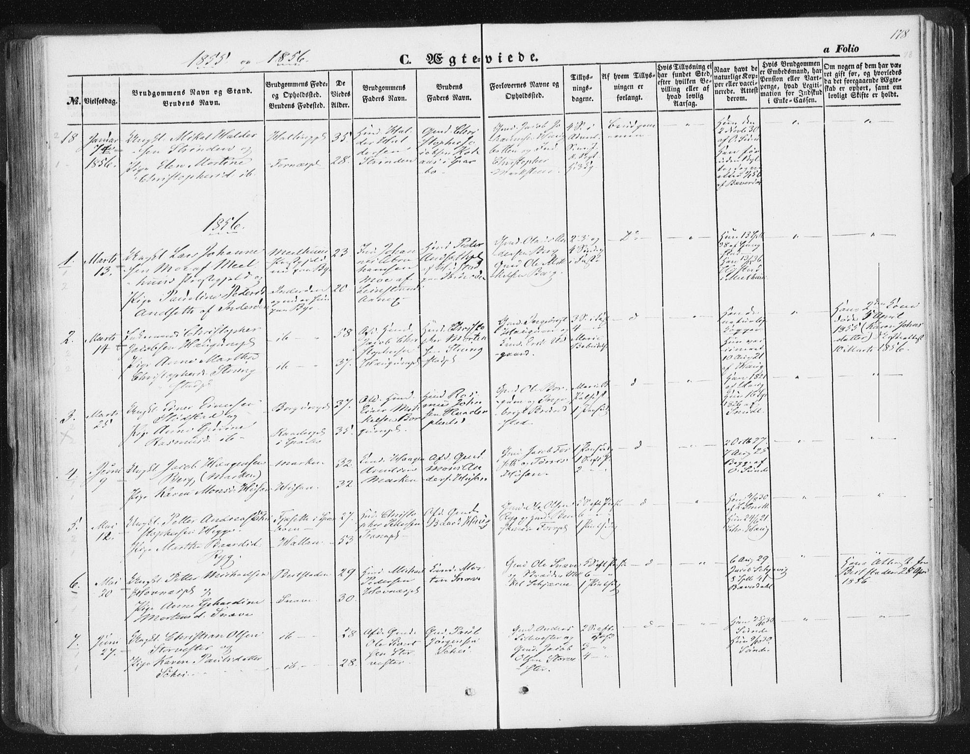 SAT, Ministerialprotokoller, klokkerbøker og fødselsregistre - Nord-Trøndelag, 746/L0446: Ministerialbok nr. 746A05, 1846-1859, s. 178
