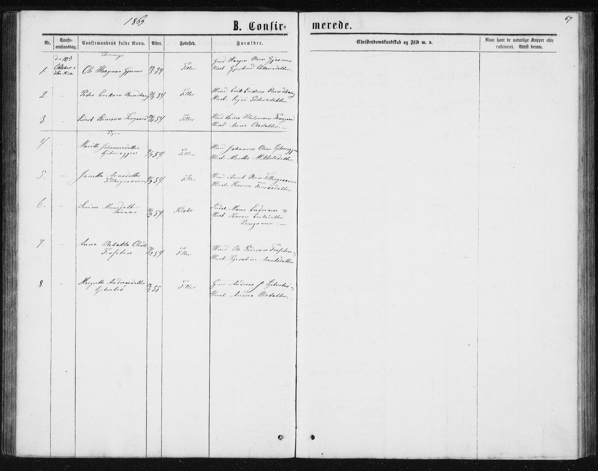 SAT, Ministerialprotokoller, klokkerbøker og fødselsregistre - Sør-Trøndelag, 621/L0459: Klokkerbok nr. 621C02, 1866-1895, s. 67
