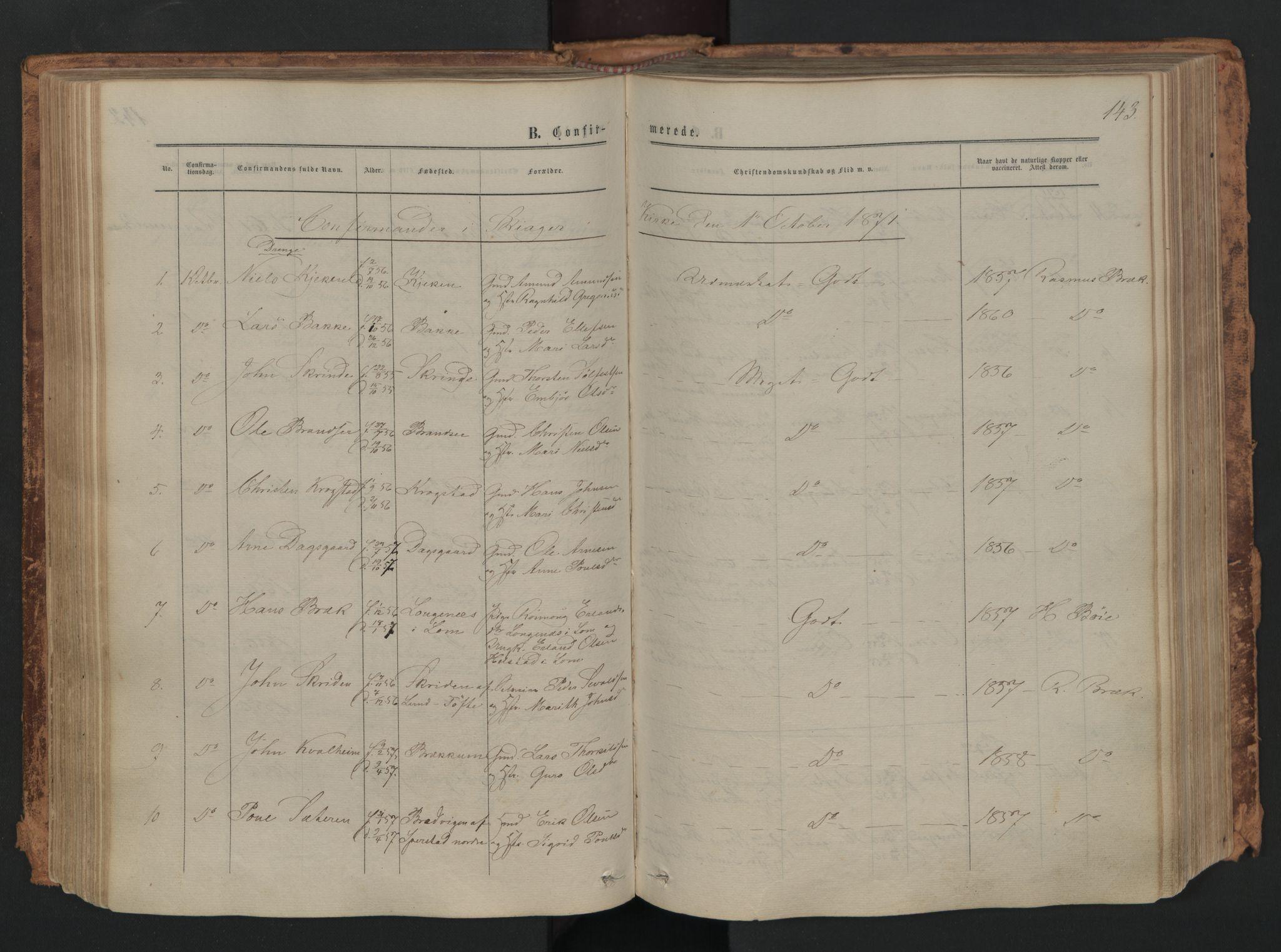 SAH, Skjåk prestekontor, Ministerialbok nr. 1, 1863-1879, s. 143