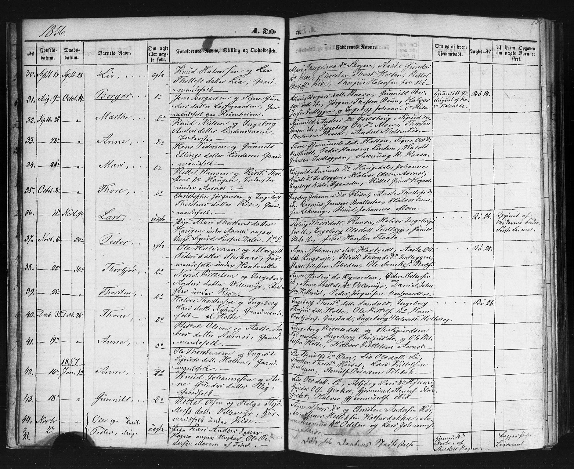 SAKO, Sauherad kirkebøker, F/Fb/L0001: Ministerialbok nr. II 1, 1851-1877, s. 20